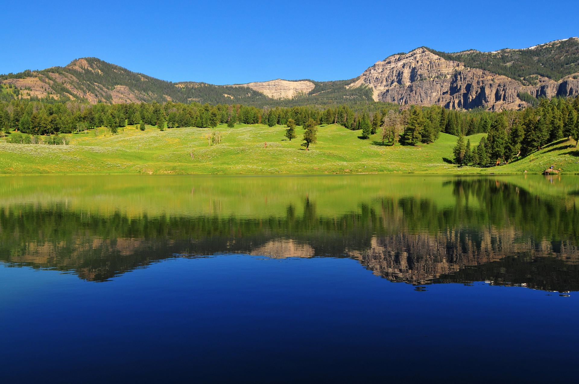 El lago Yellowstone es el lago de gran altitud más grande de América del Norte. El área es el hábitat principal de muchas aves y muchos mamíferos. Gente de todos lados acude para maravillarse con los vibrantes colores y los arco iris que se generan a su alrededor, que crean un efecto sorprendente y paradisíaco