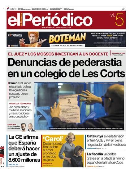 La portada de El Periódico del 5 de febrero de 2016, cuando se dieron a conocer las denuncias por primera vez