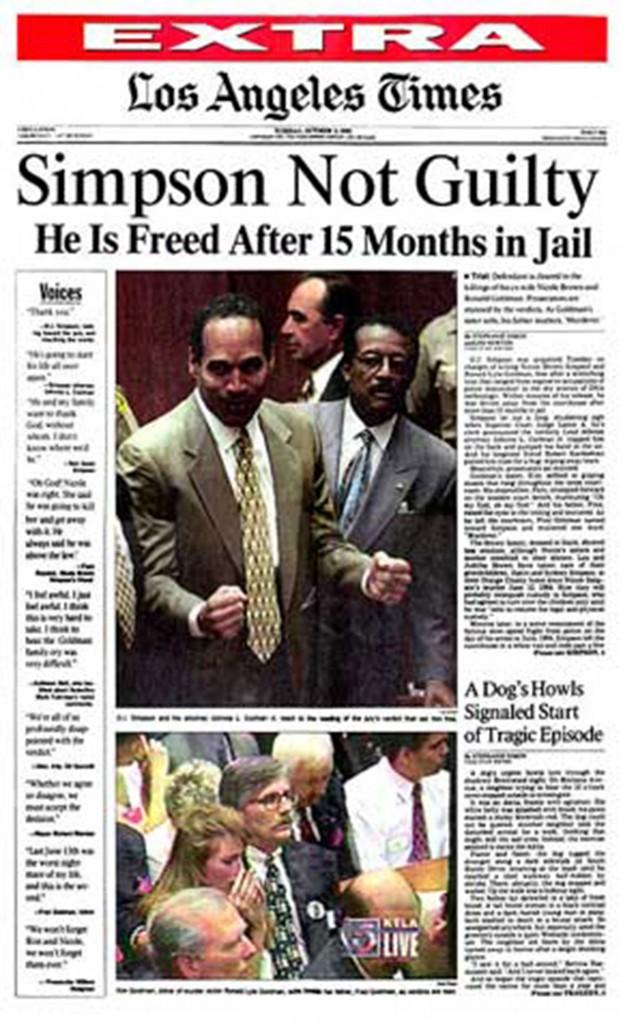La portada de Los Angeles Times con la noticia que conmocionó a los Estados Unidos