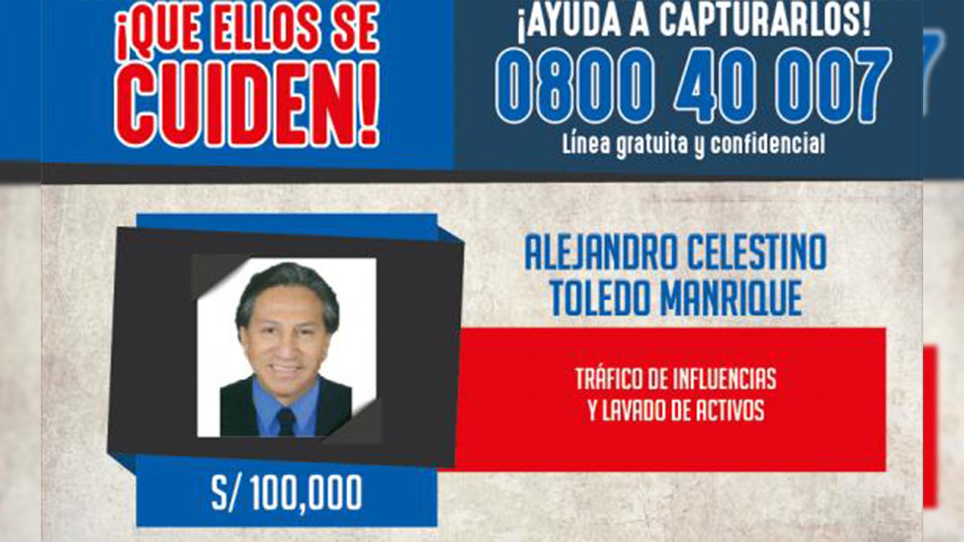El gobierno peruano ofreció cerca de USD 30 mil por la captura de Toledo
