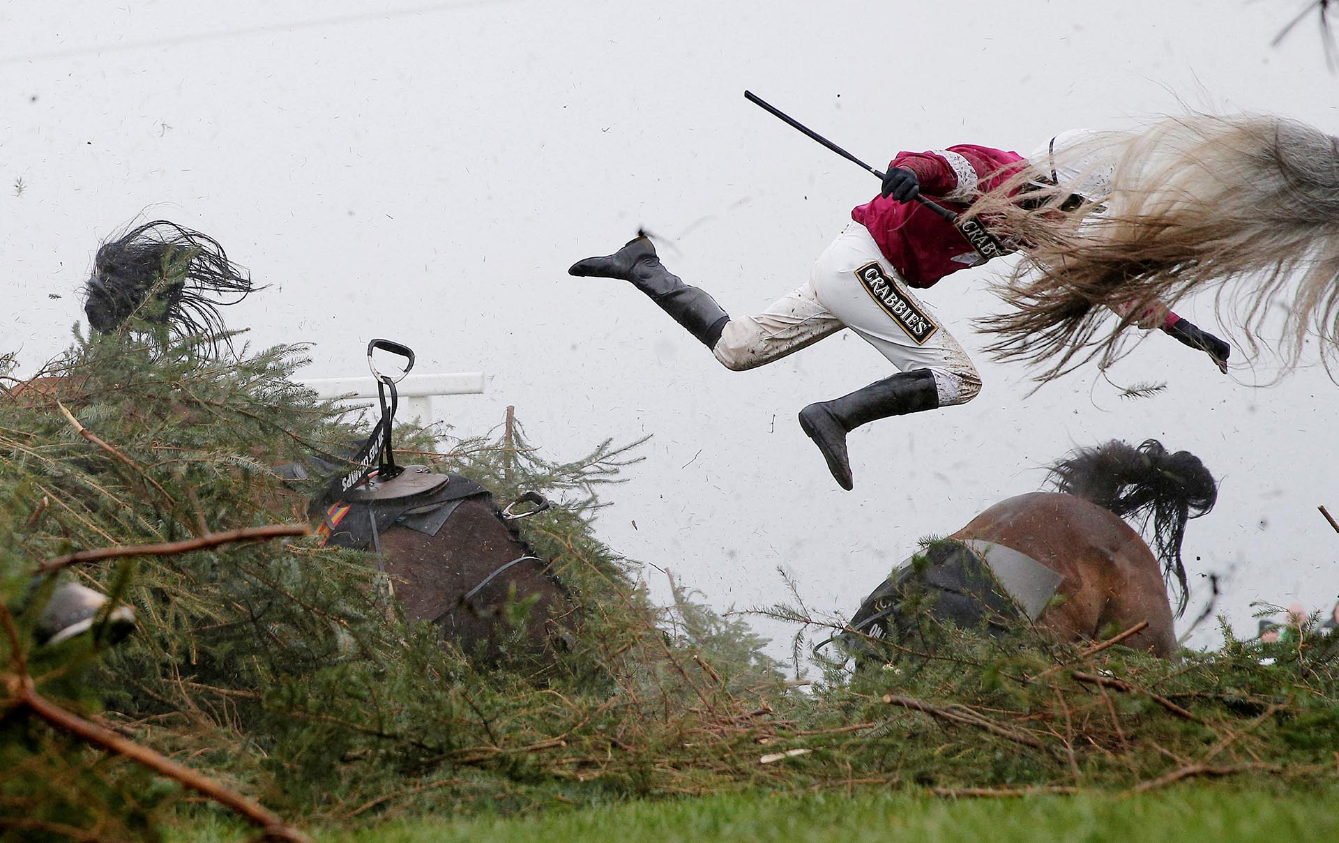 Deportes, primeros premios. Nina Carberry vuela de su caballo en Liverpool, Inglaterra. Tom Jenkins, The Guardian