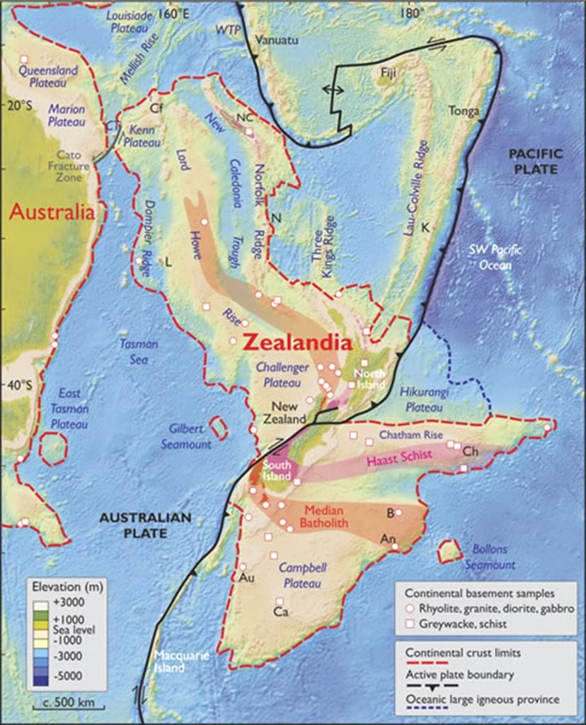 Los límites de Zealandia (GSA)
