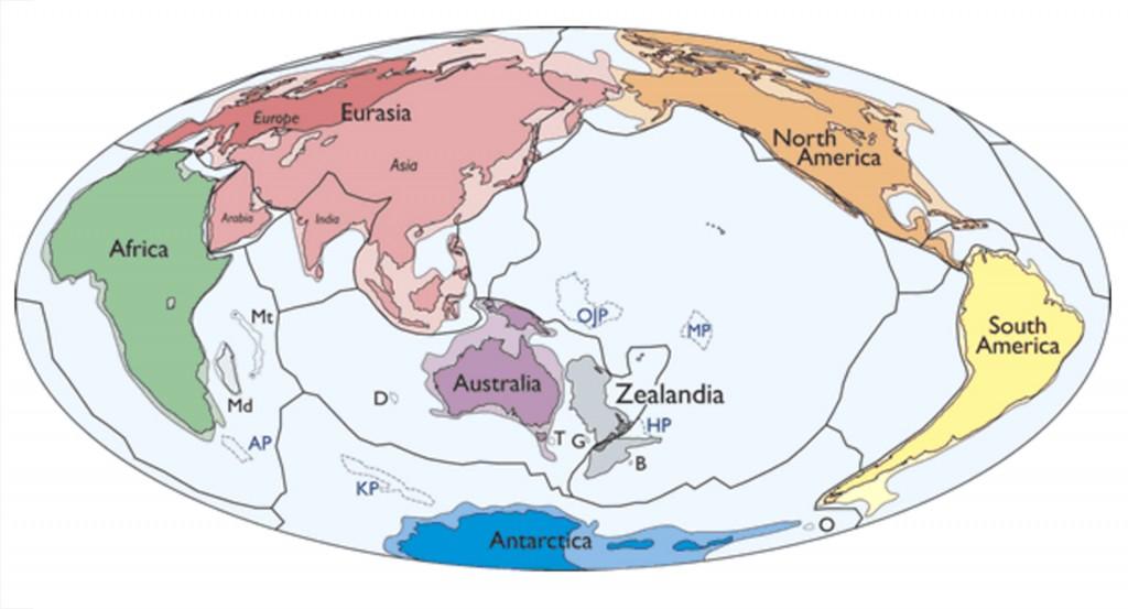 Mapa de las placas tectónicas de la Tierra en el que se muestra al nuevo continente, Zealandia, justo en el límite entre las placas Indoaustraliana y del Pacífico (GSA)