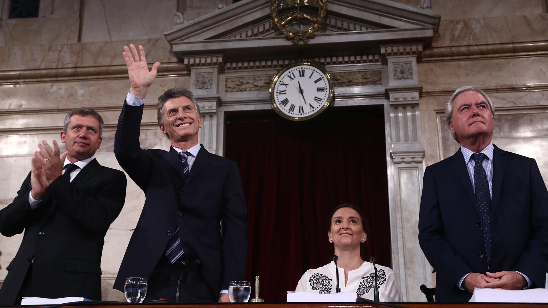 Macri y Michetti en la apertura de sesiones del 2016