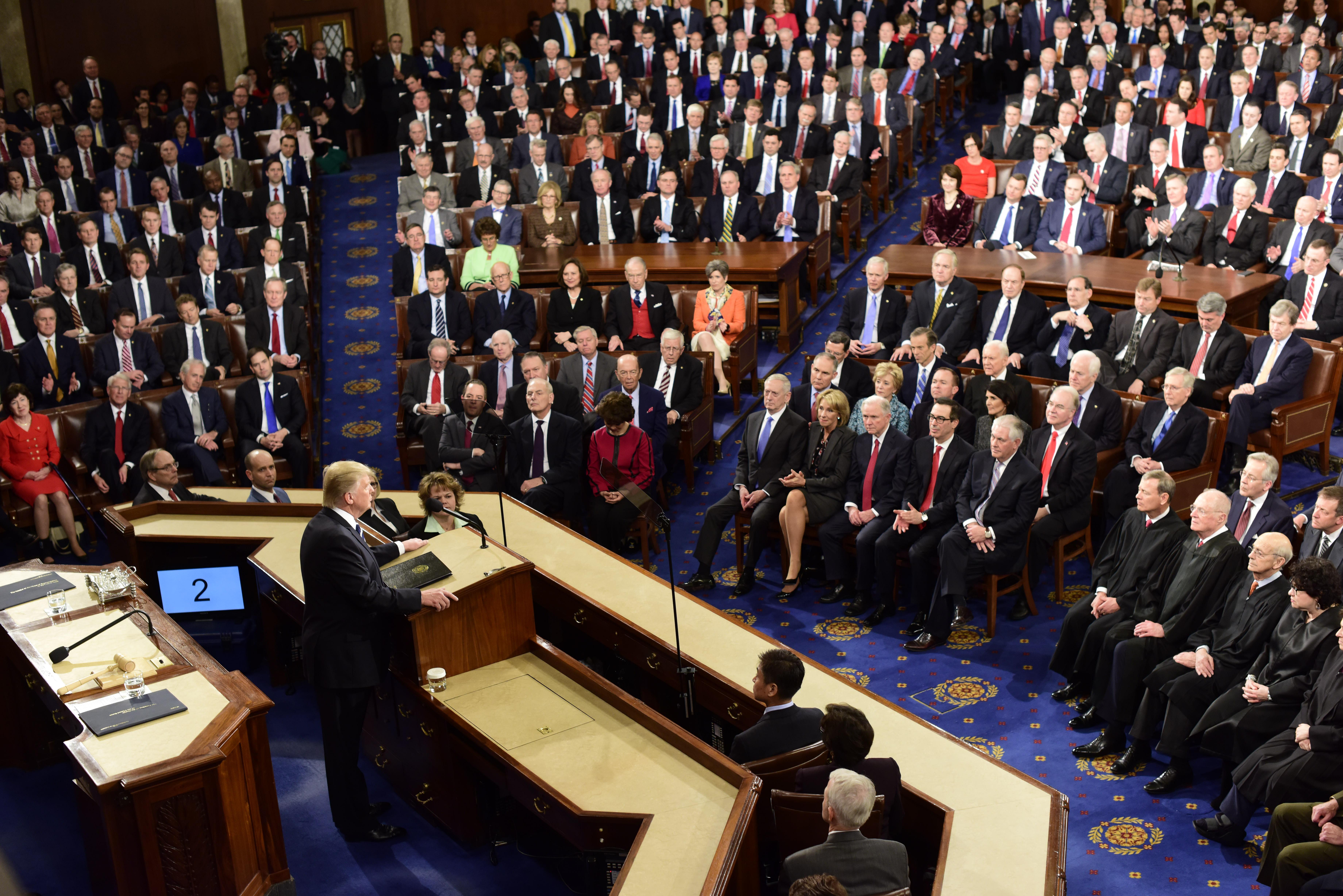 Donald Trump, ante senadores y representantes, en el discurso del 2017 (Washington Post/Melina Mara)
