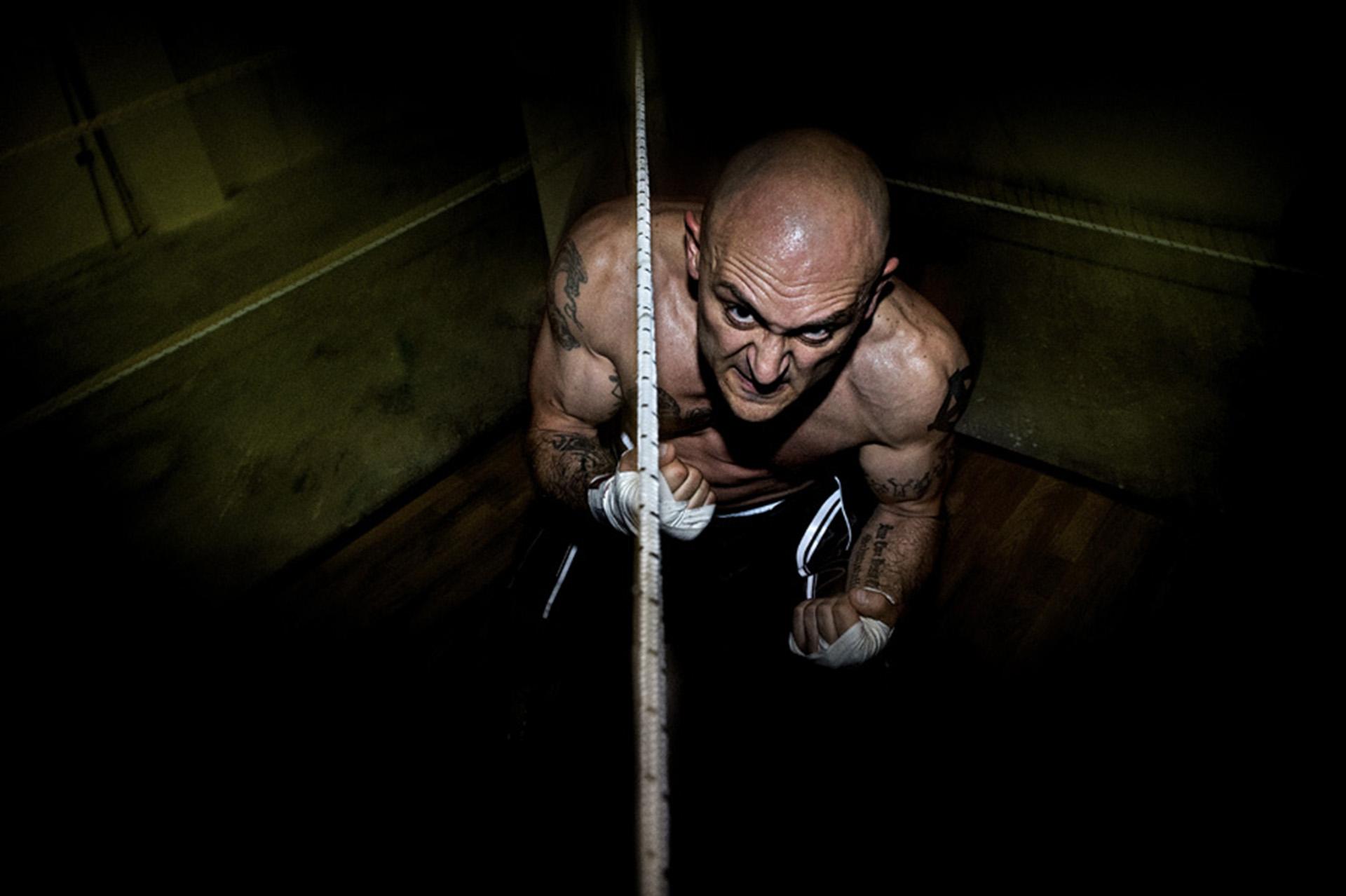 Armando, en su entrenamiento de boxeo