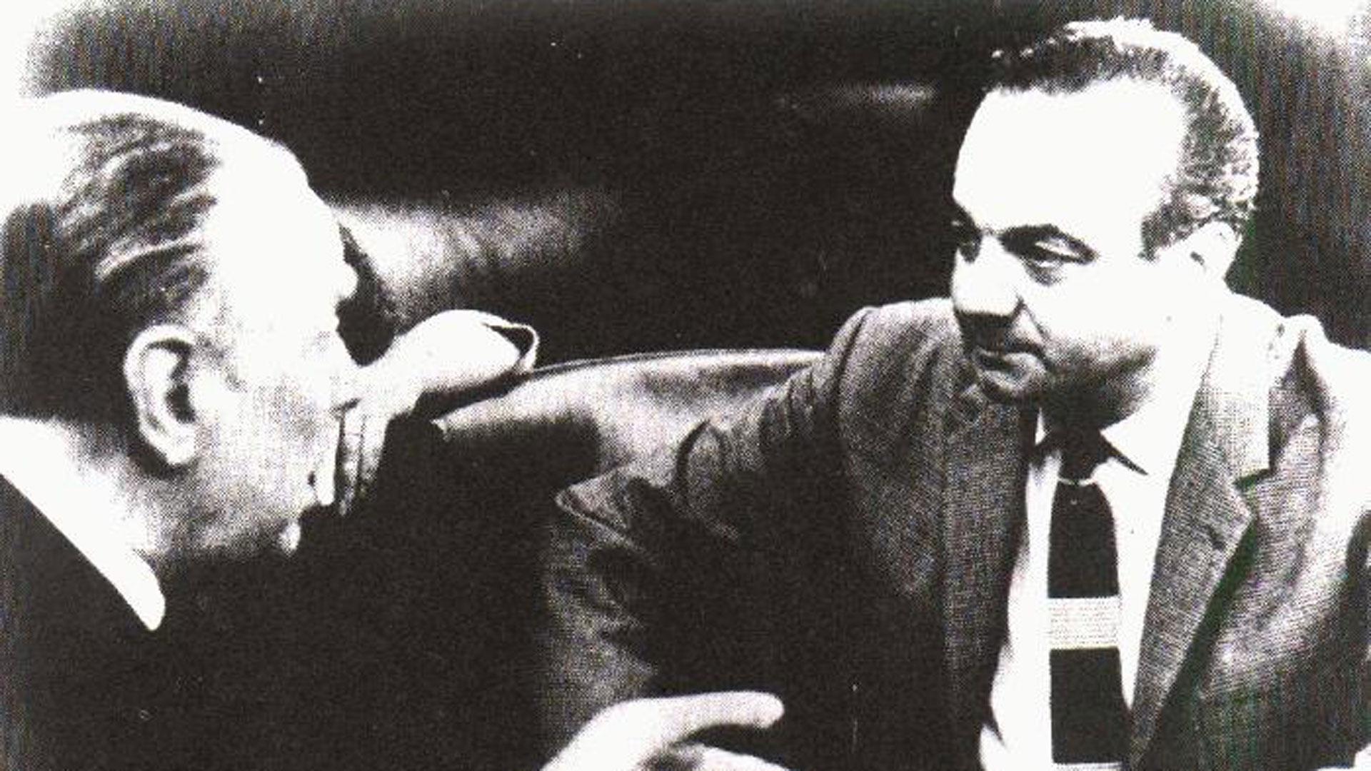 """Astor Piazzolla y Jorge Luis Borges, que lo llamaba """"Pianola"""""""