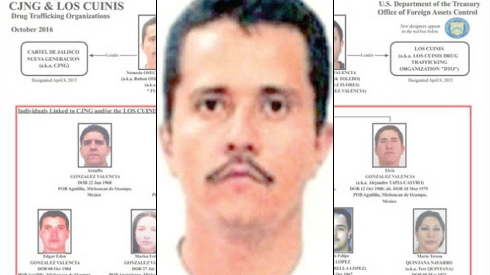"""Desde 2016 Nemesio Oseguera, el Mencho y 7 de sus cuñados están incluidos en la lista """"negra del narcotráfico en EEUU."""