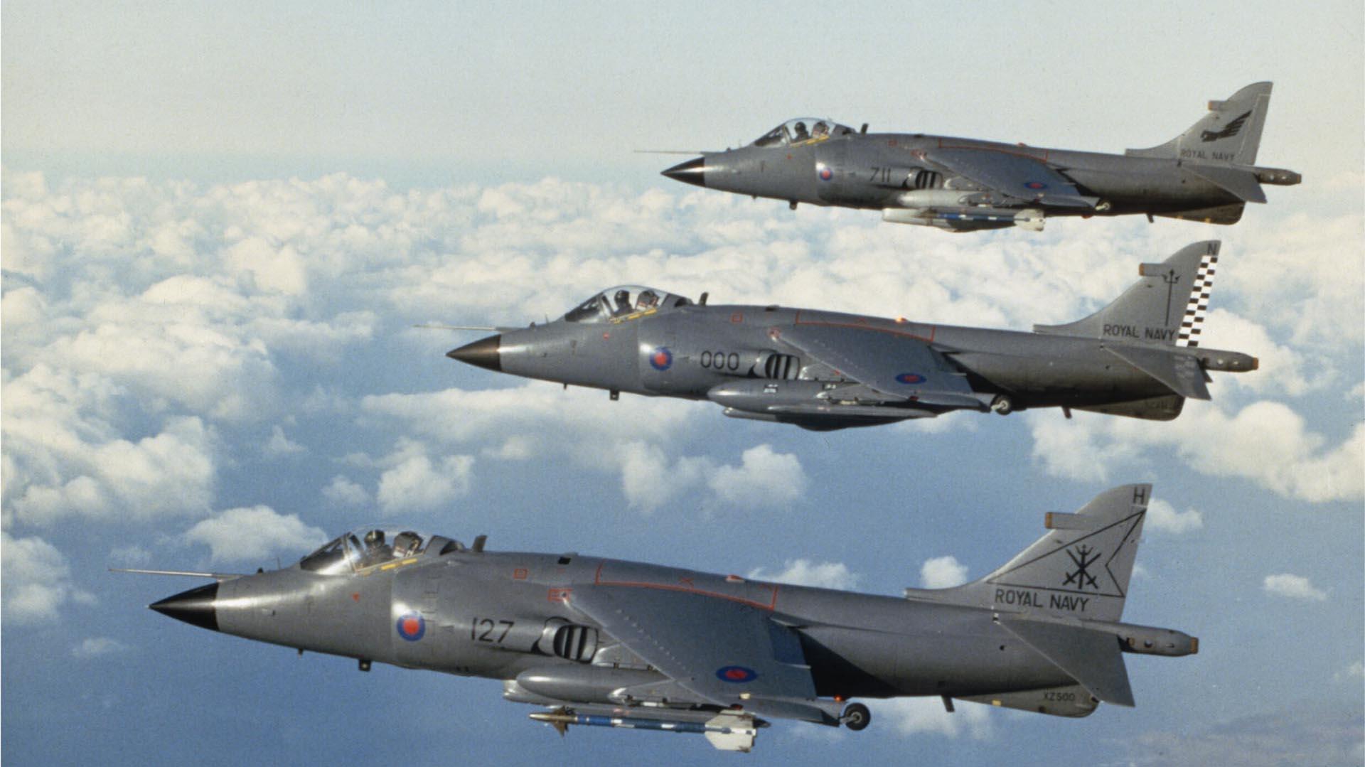 Harriers de la Marina Real que batallaron en Malvinas (Imperial War Museums)