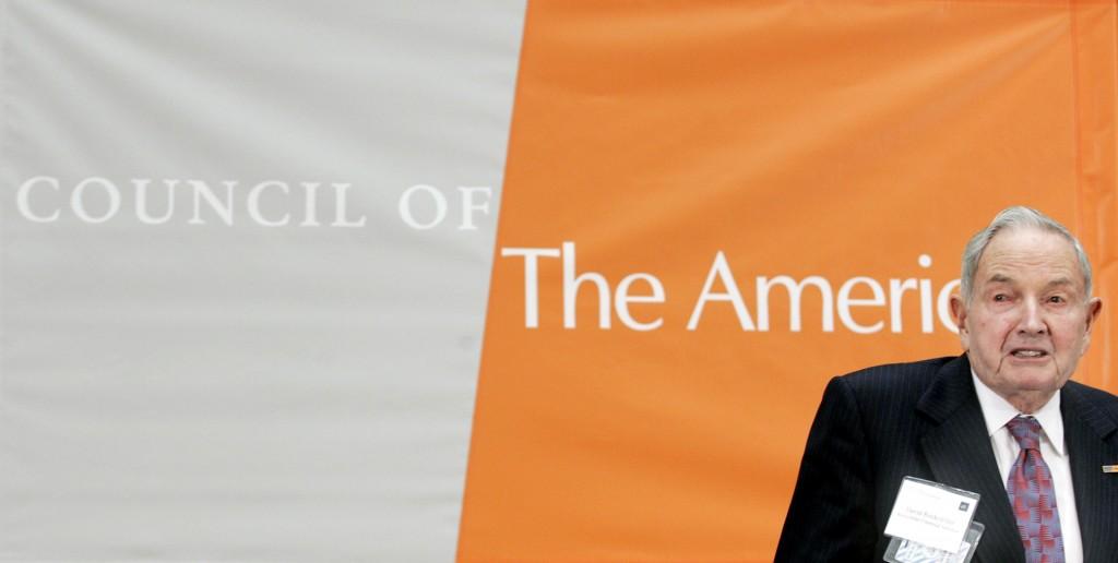 David Rockefeller, honorary director honorario del Consejo de las Américas, habla durante una conferencia el3 de mayo de 2005, en el Departamento de Estado de los EEUU (Chip Somodevilla/Getty Images)