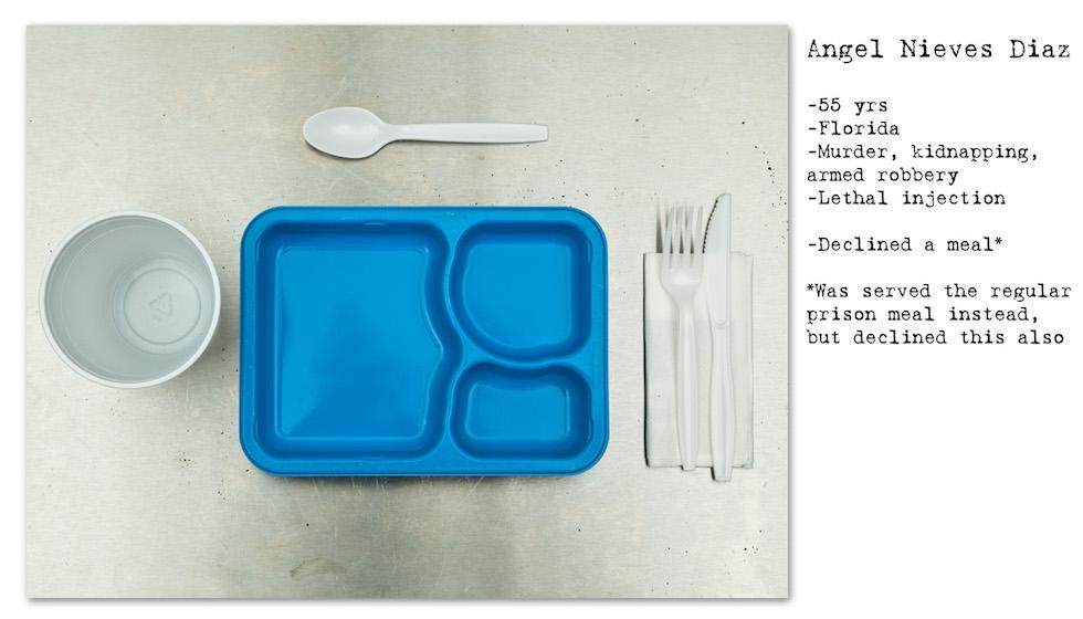 Angel Nieves Diaz: 55 años, Florida, Asesinato, secuestro, robo; Inyección letal. Rechazó la comida especial, se le ofreció la de la cárcel, pero rechazó también esa. (No Seconds – Henry Hargreaves)