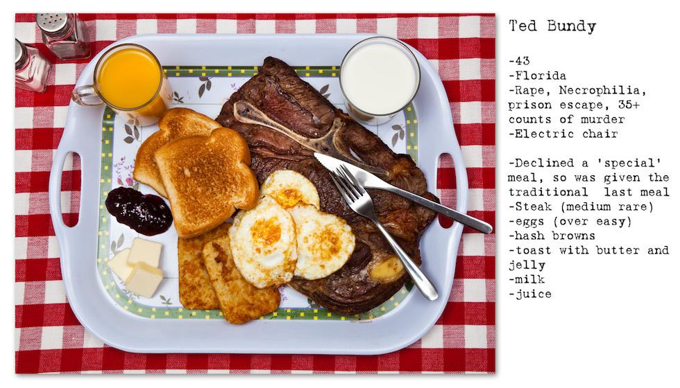 """Ted Bundy:43 años; Florida; Violación, necrofilia, evasión, más de 35 asesinatos; Silla eléctrica; Rechazó una comida """"especial"""", por lo tanto le fue dada la tradicional última comida prevista por la cárcel: carne, huevos, papas fritas, tostadas con manteca y mermelada, leche (No Seconds – Henry Hargreaves)"""