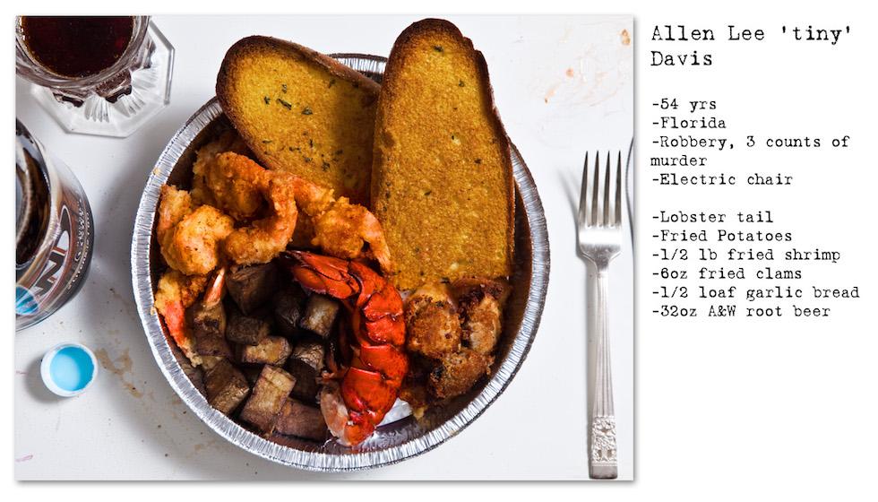 """Allen Lee """"Tiny"""" Davus: 54 años, Florida, Robo, 3 homicidios. Pidió: cola de langosta, papas fritas, camarones fritos, pan con ajo, almejas fritas, A&W Root Beer (No Seconds – Henry Hargreaves)"""