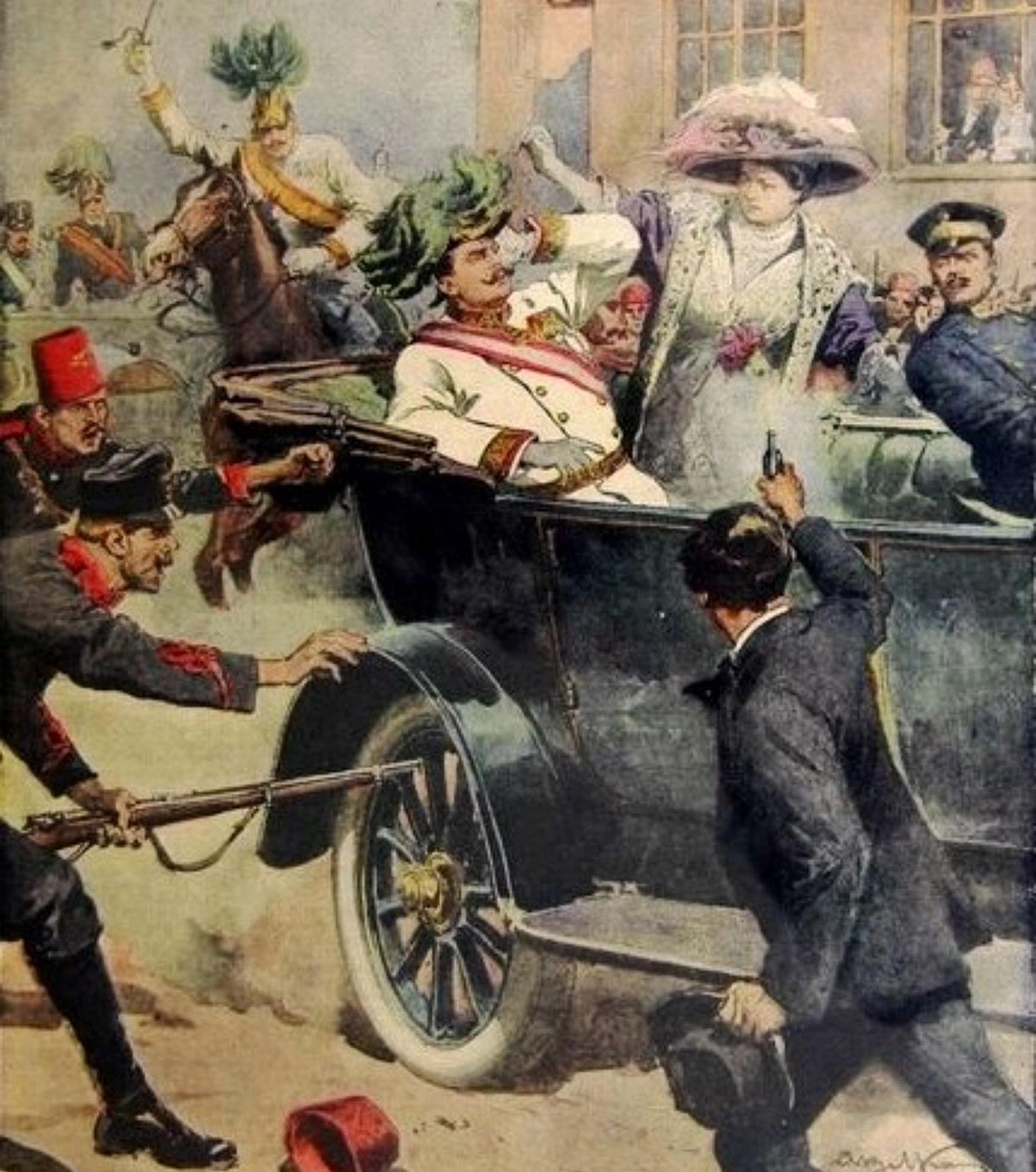 Representación pictórica del asesinato del archiduque Francisco Fernando y su esposa Sofía, en 1914