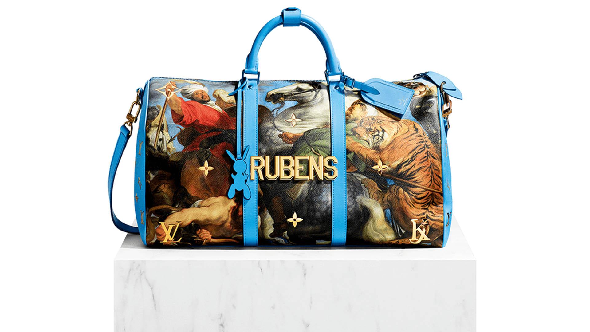 """En el 2017, Louis Vuitton y el arista Jeff Koons idearon la colección """"Masters"""", inspirada en los grandes pintores. Uno de ellos fue Rubens. En esta imagen, el modelo de bolso de viaje """"Keepall"""" con identificador de bolso y detalle de broche incluido"""