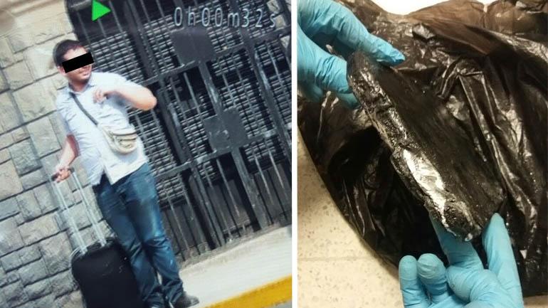 Santiago Sánchez, antes de dejar Perú. La droga que se le encontró en su valija.