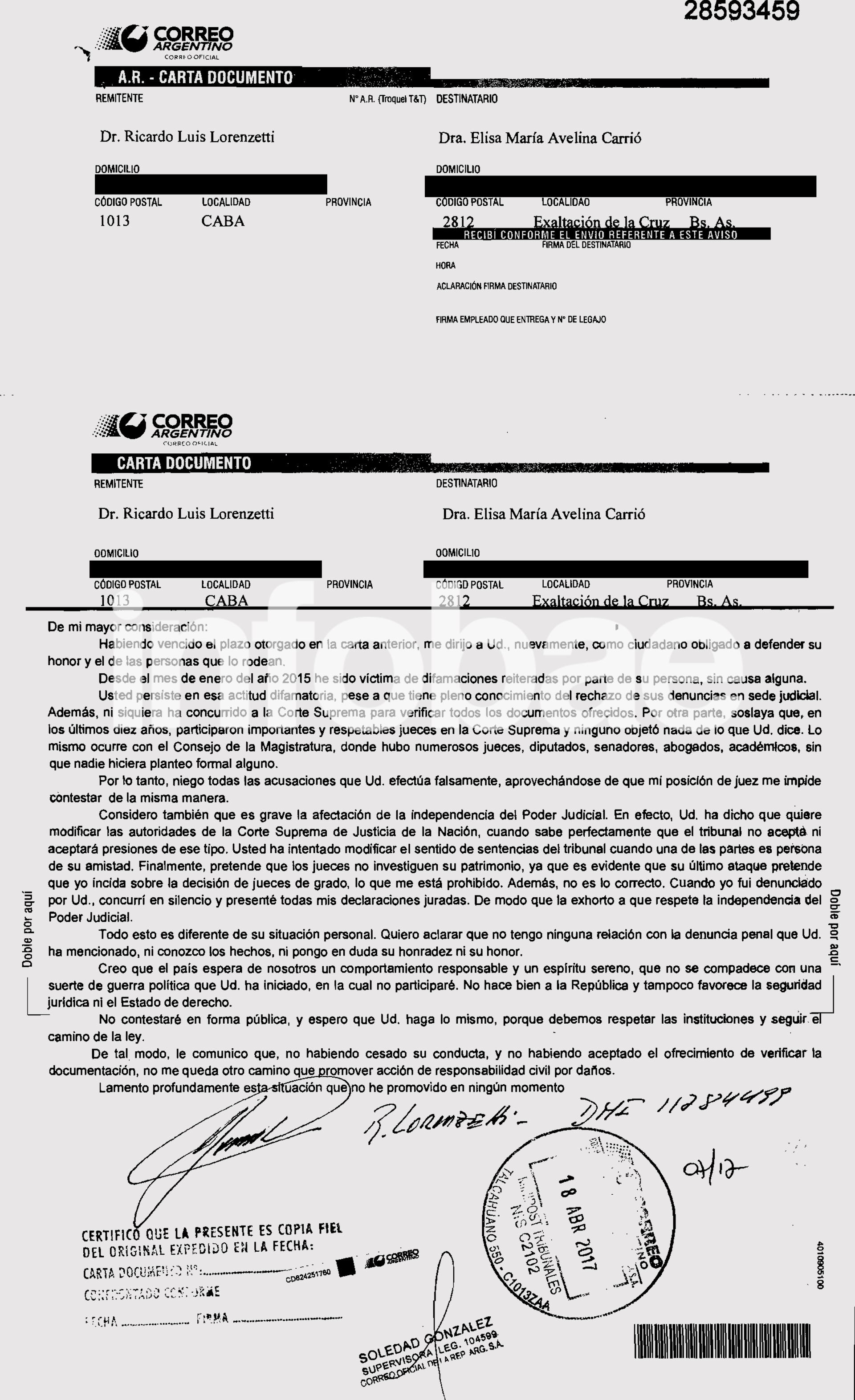 Captura de la carta documento enviada por Lorenzetti a Carrió