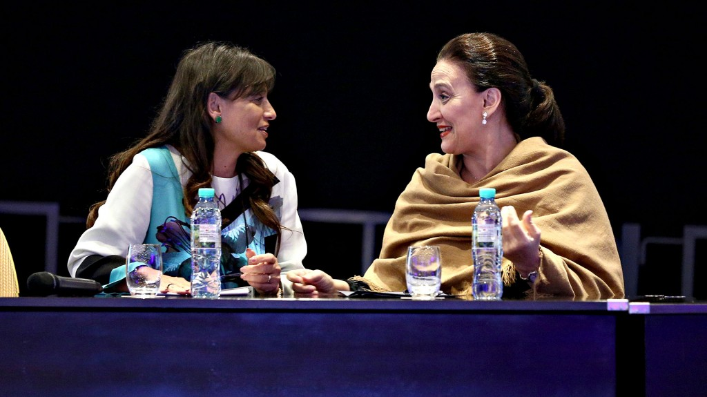 Viviana Zocco y Gabriela Michetti durante la presentación