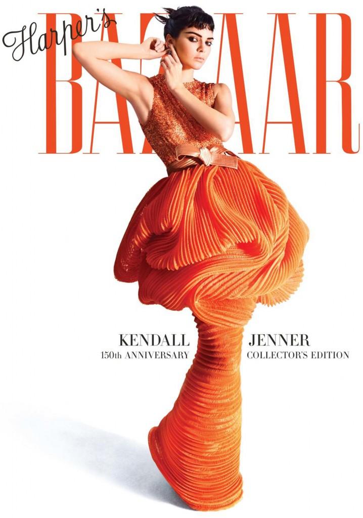 La revista Harper's Bazaar celebra sus 150 años con mujeres icónicas en sus portadas, en este caso la tapa de mayo edición colección. Jenner con un diseño de Armani Privée