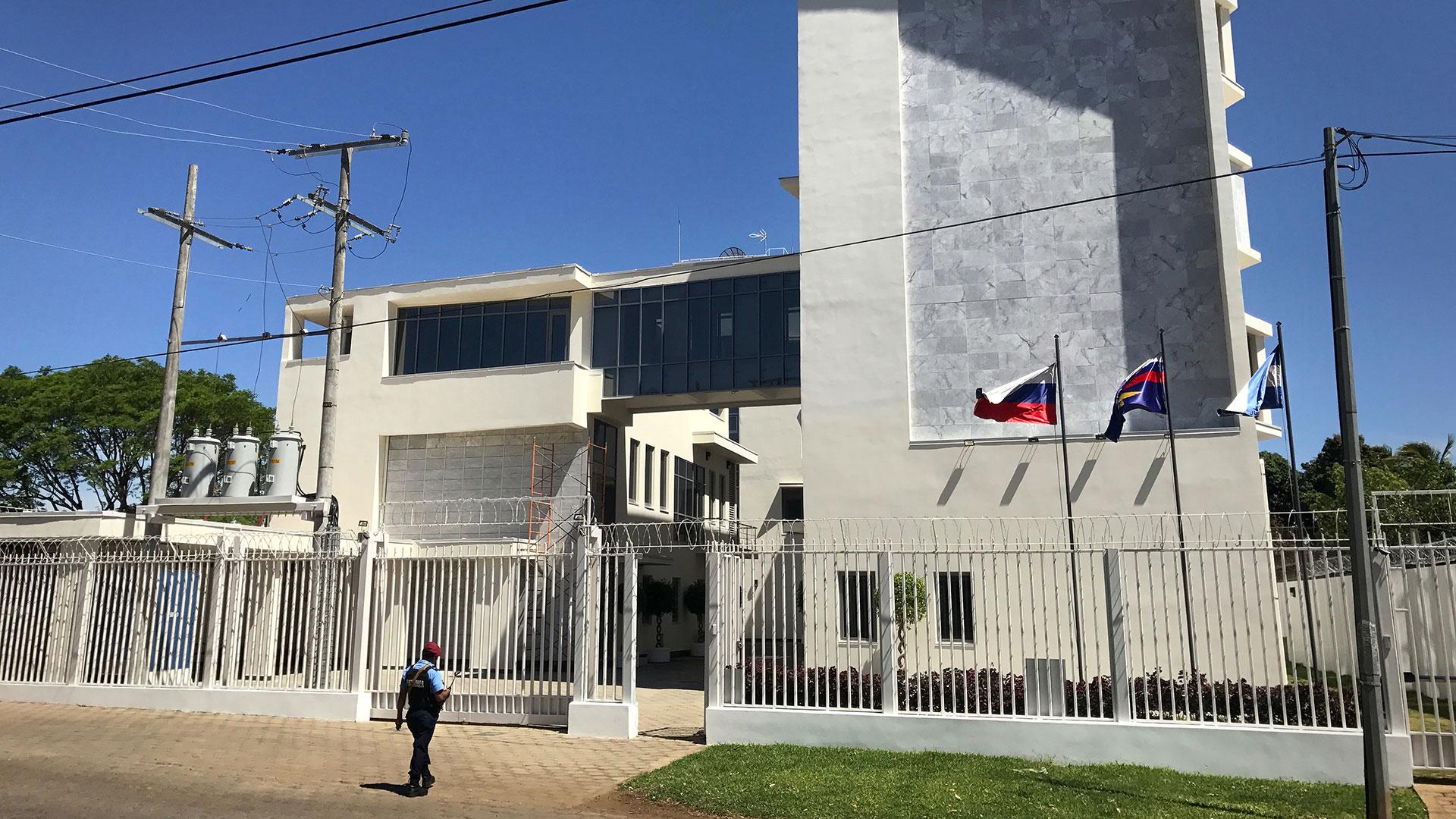 El supuesto centro de entrenamiento ruso para combatir el narcotráfico en Nicaragua. En realidad sería un edificio dedicado a la inteligencia complementario de la estación Glonass (Washington Post)