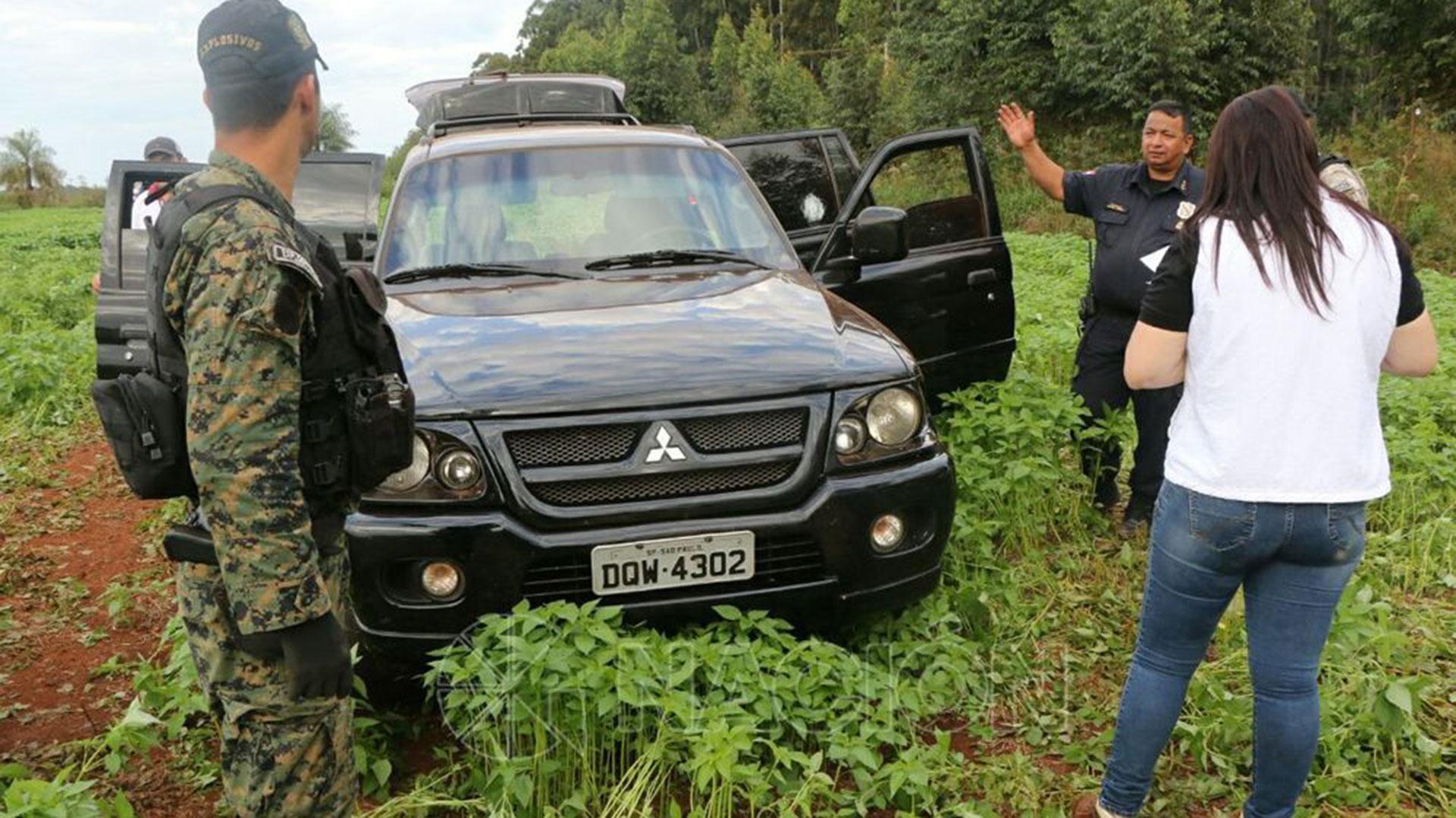 La camioneta Mitsubishi que usaron los delincuentes en el robo millonario del 24 de abril