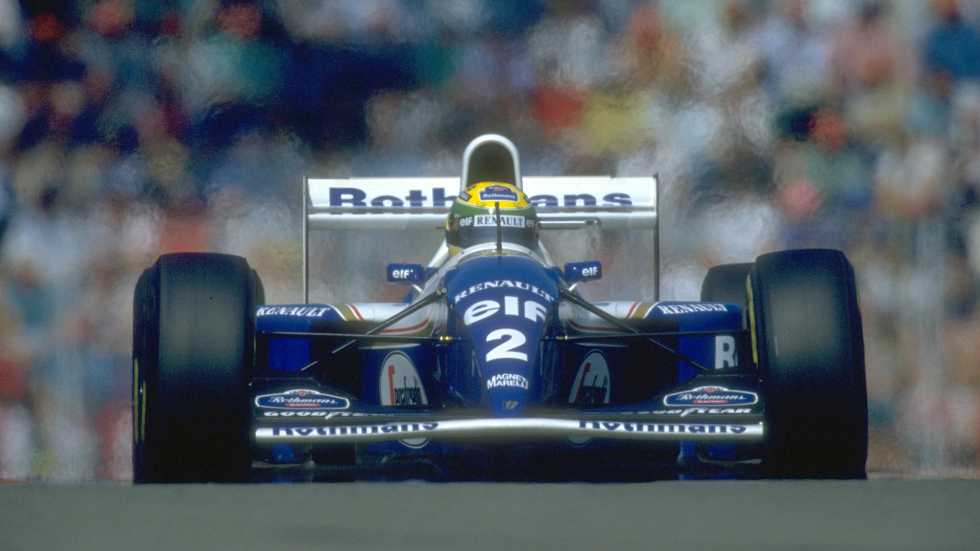 Una de las últimas imágenes del Williams de Senna el 1 de mayo de 1994 en Imola, el día que perdió la vida en un accidente