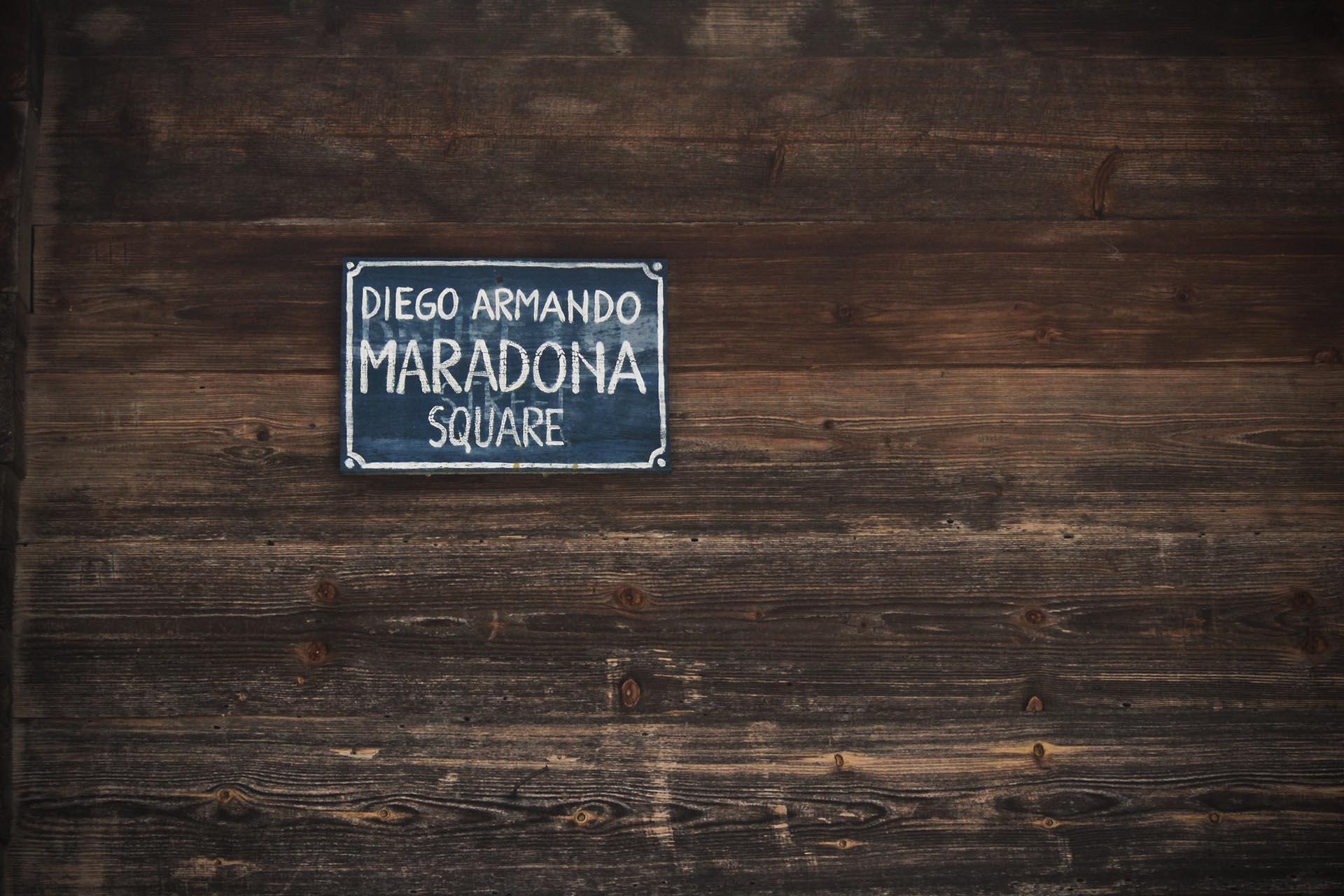 La plaza Diego Maradona, en Drvengrad