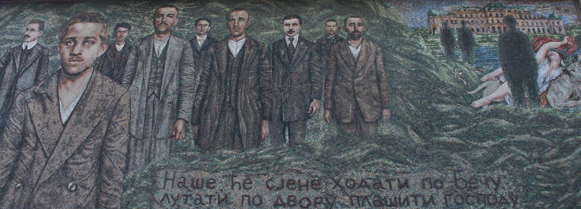Mural en honor a Gavrilo Princip en Andricgrad