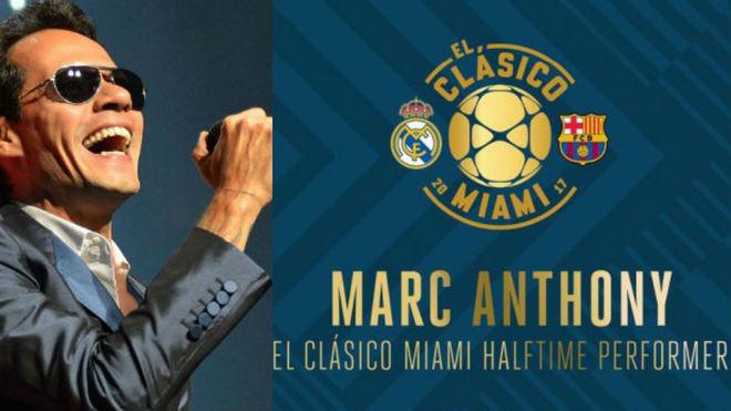 Marc Anthony animará el entretiempo del clásico que disputarán Real Madrid y Barcelona el 29 de julio en el Hard Rock Stadium de Miami (Foto: Marca)