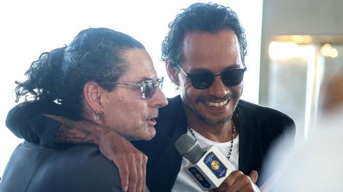 El cantante neoyorquino de origen puertorriqueño Marc Anthony junto al productor musical David Saltz