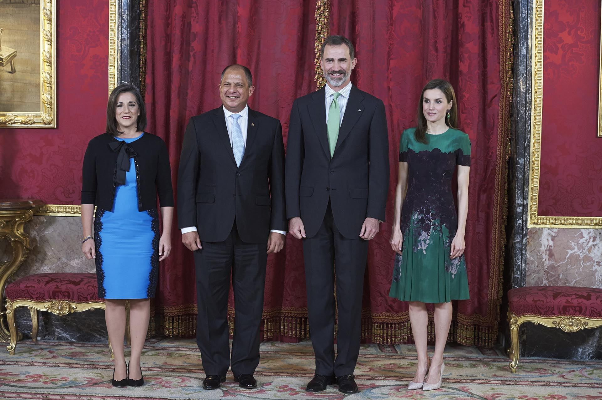 Felipe VI y la reina Letizia reciben al presidente de Costa Rica, Luis Guillermo Solís Rivera, y su esposa, Mercedes Peñas Domingo