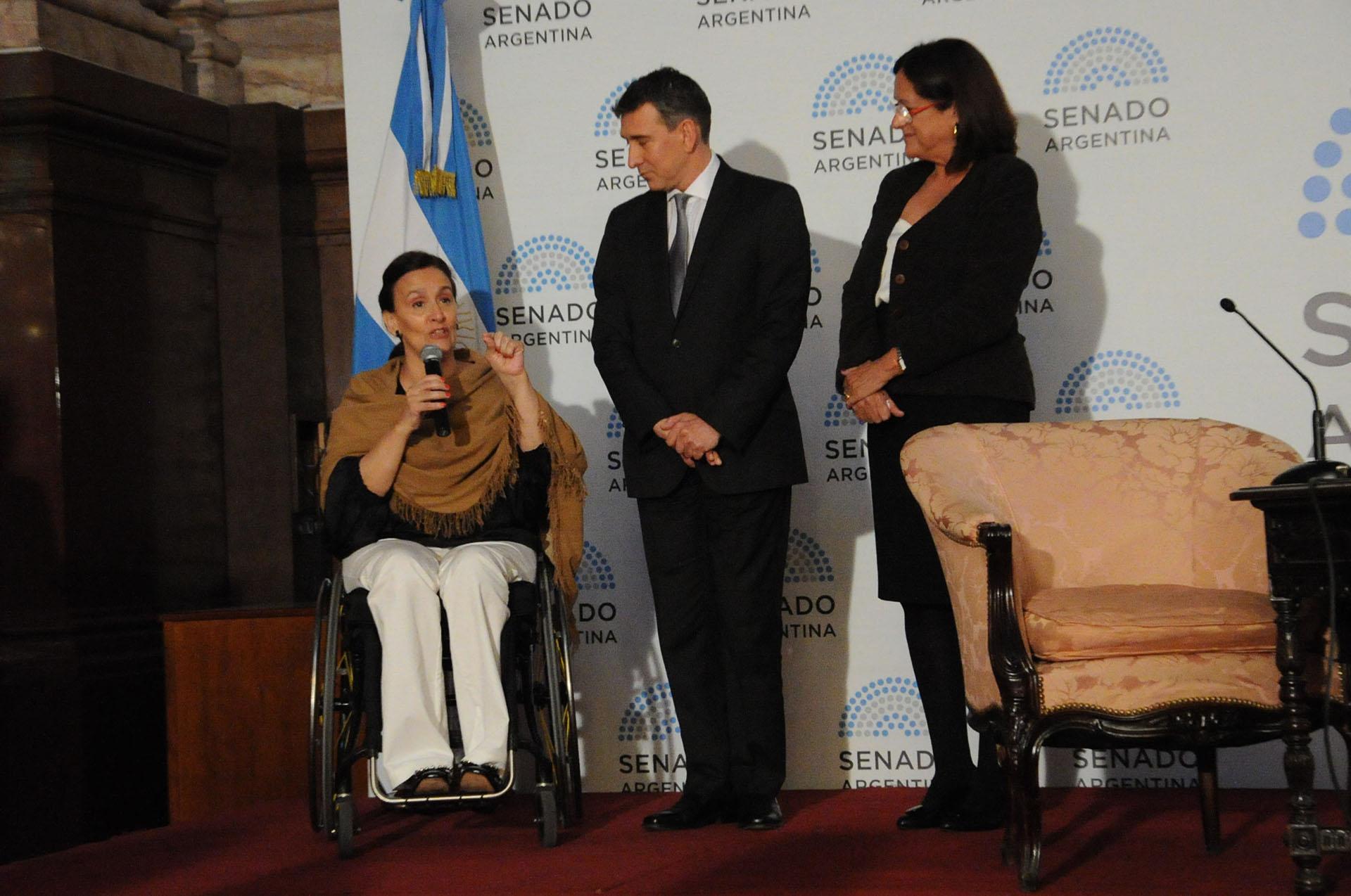 La vicepresidenta Gabriela Michetti elogió al artista durante su discurso