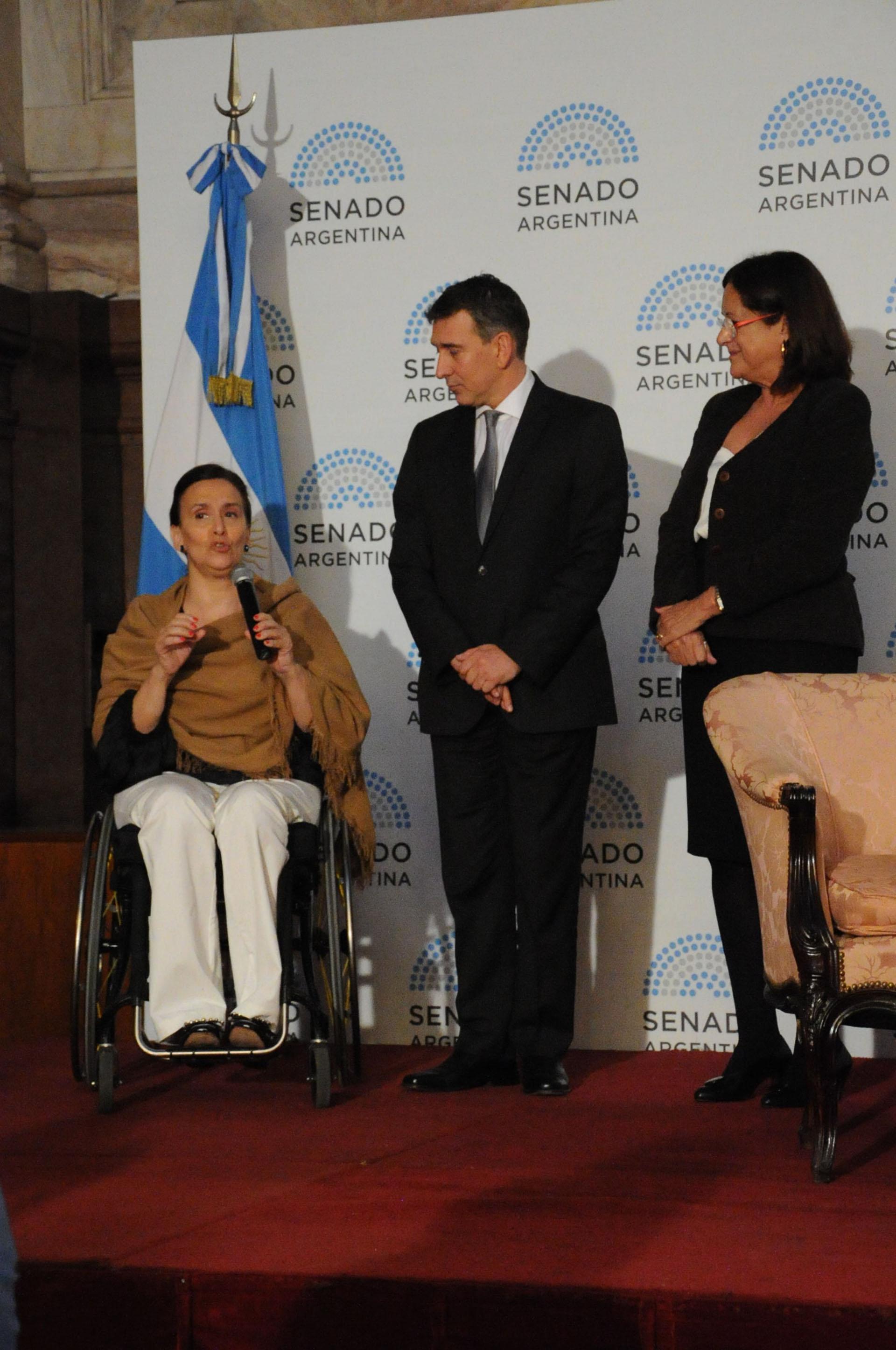 Gabriela Michetti, Julio Bocca y la senadora del PRO, Marta Varela