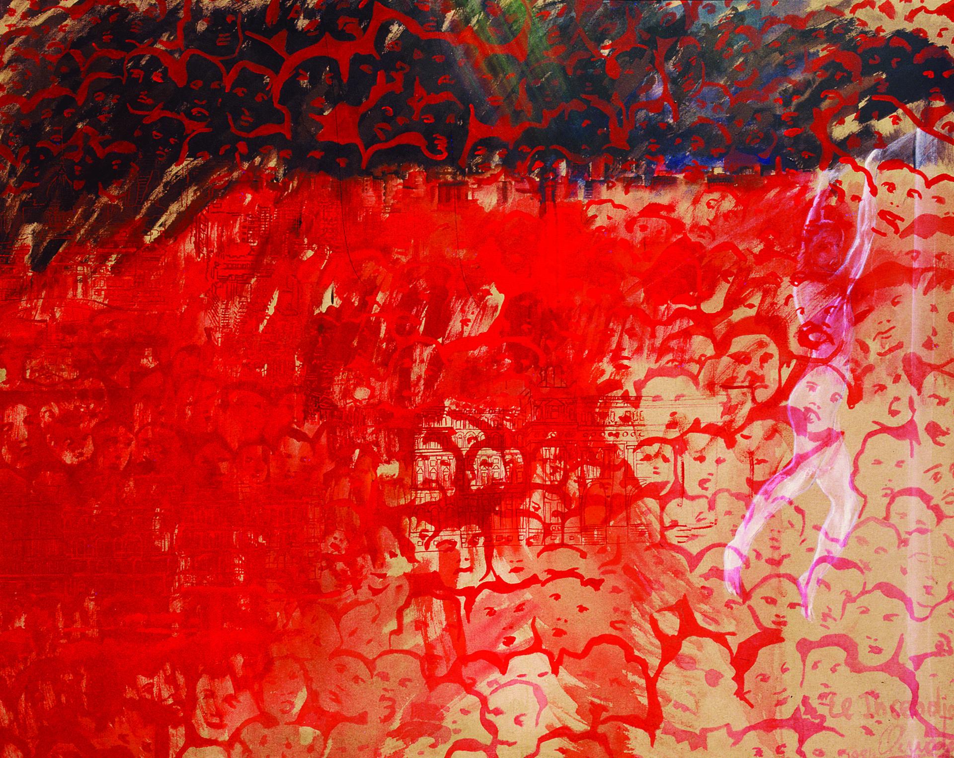 Galería: Henrique Faria New York/Buenos Aires. Artista: Elda Cerrato. Título: El incendio. Técnica: Acrílico sobre tela. Año: 1984. Medidas: 115 x 145 cm