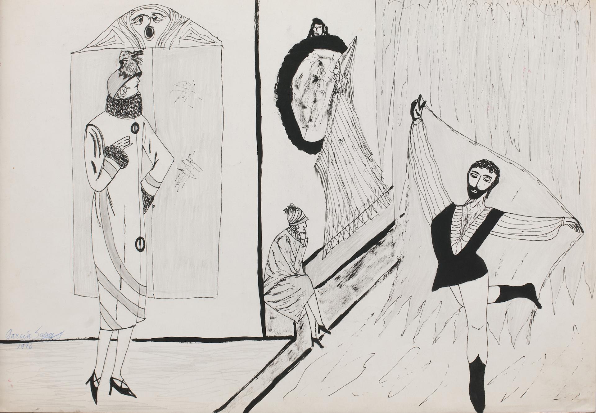 Sin título | Sección Principal. Galería: Hache. Artista: Santiago García Sáenz. Técnica: Tinta sobre papel. Año: 1976. Medida: 34,8 x 49,6 cm
