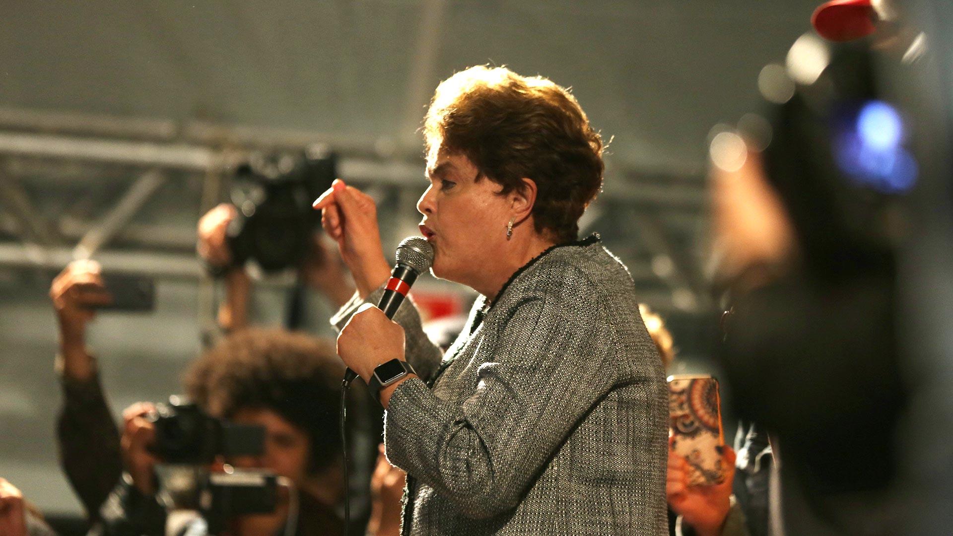 Dilma Rousseff también habló en el acto junto a Lula (Reuters)