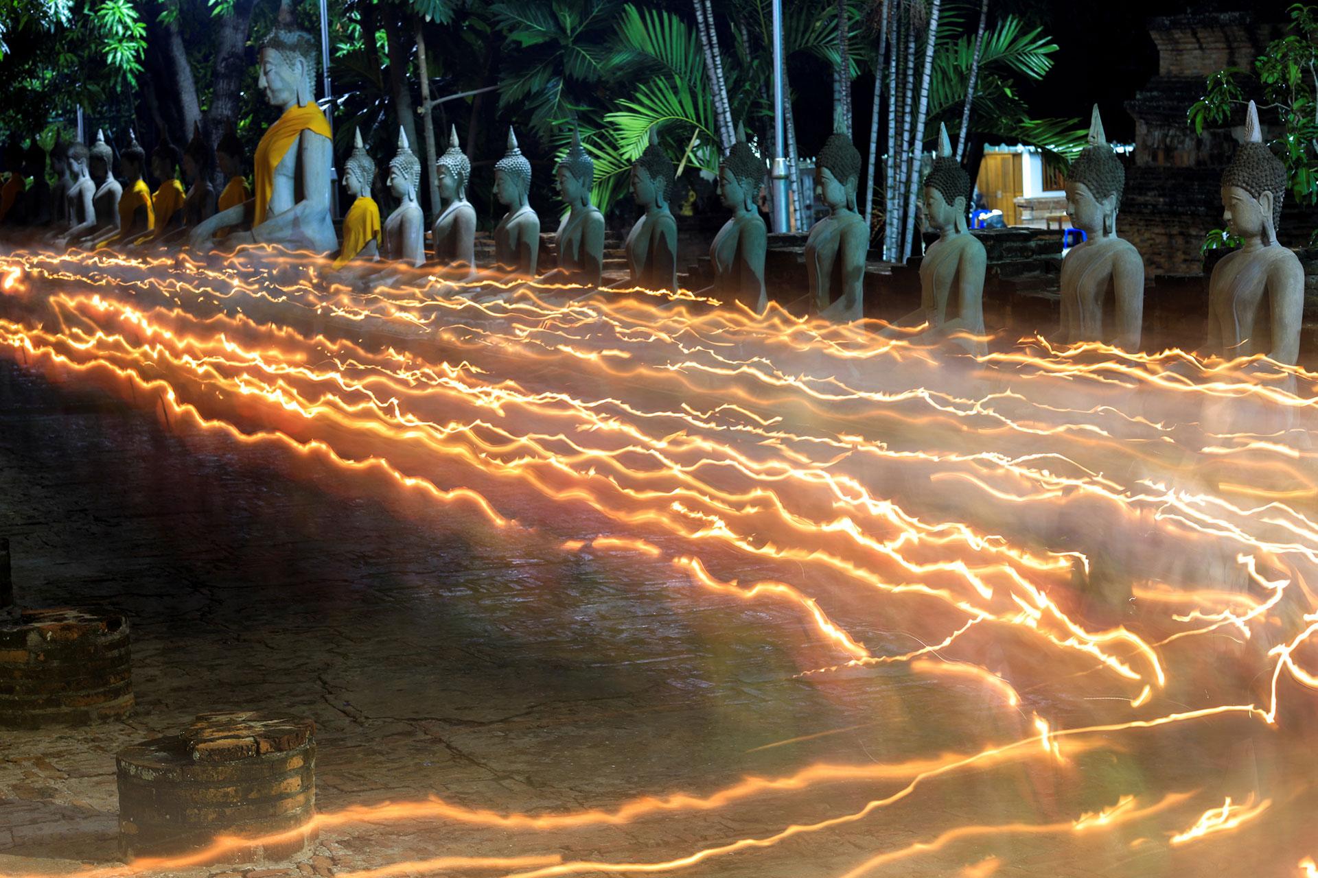 Estatuas del Buda en el templo Chai Mongkhon en Ayutthaya, Tailandia (Reuters)