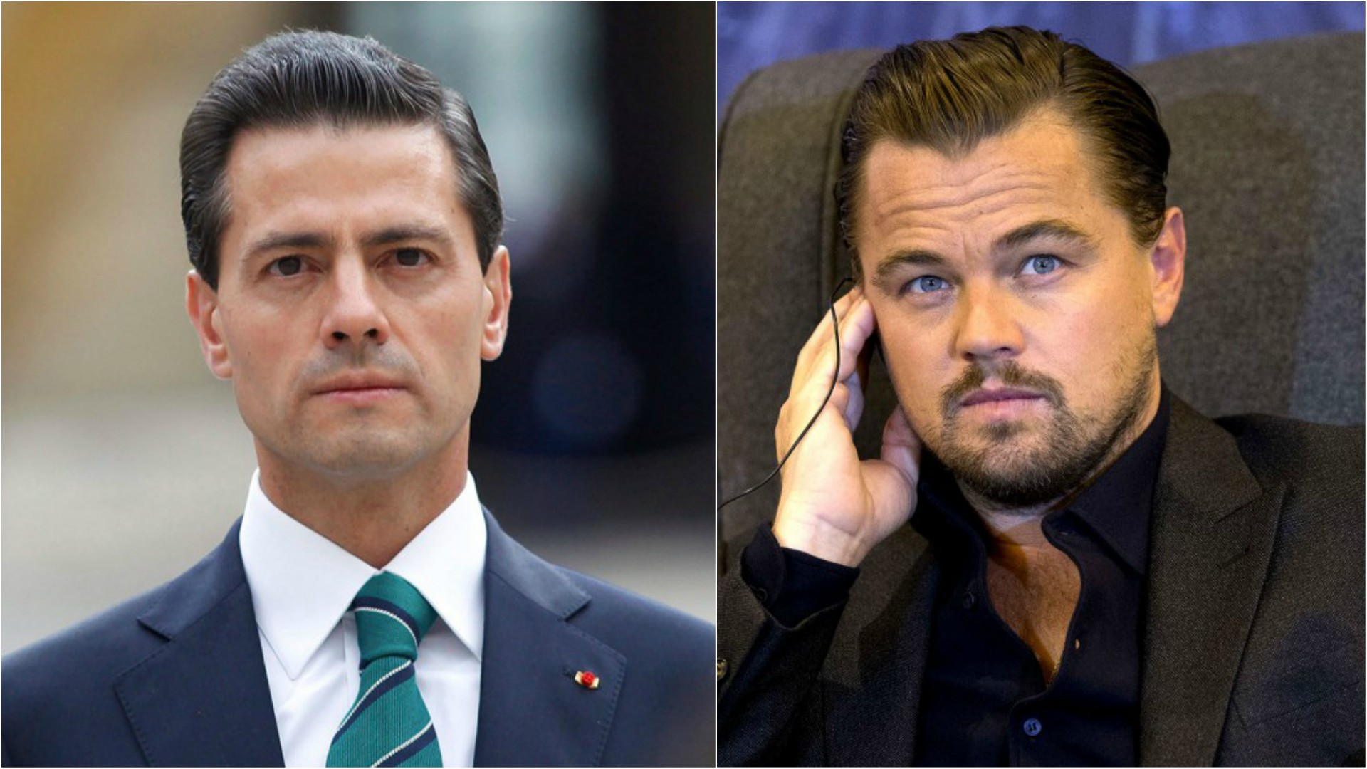 El presidente de México Enrique Peña Nieto y el actor estadounidense Leonardo DiCaprio