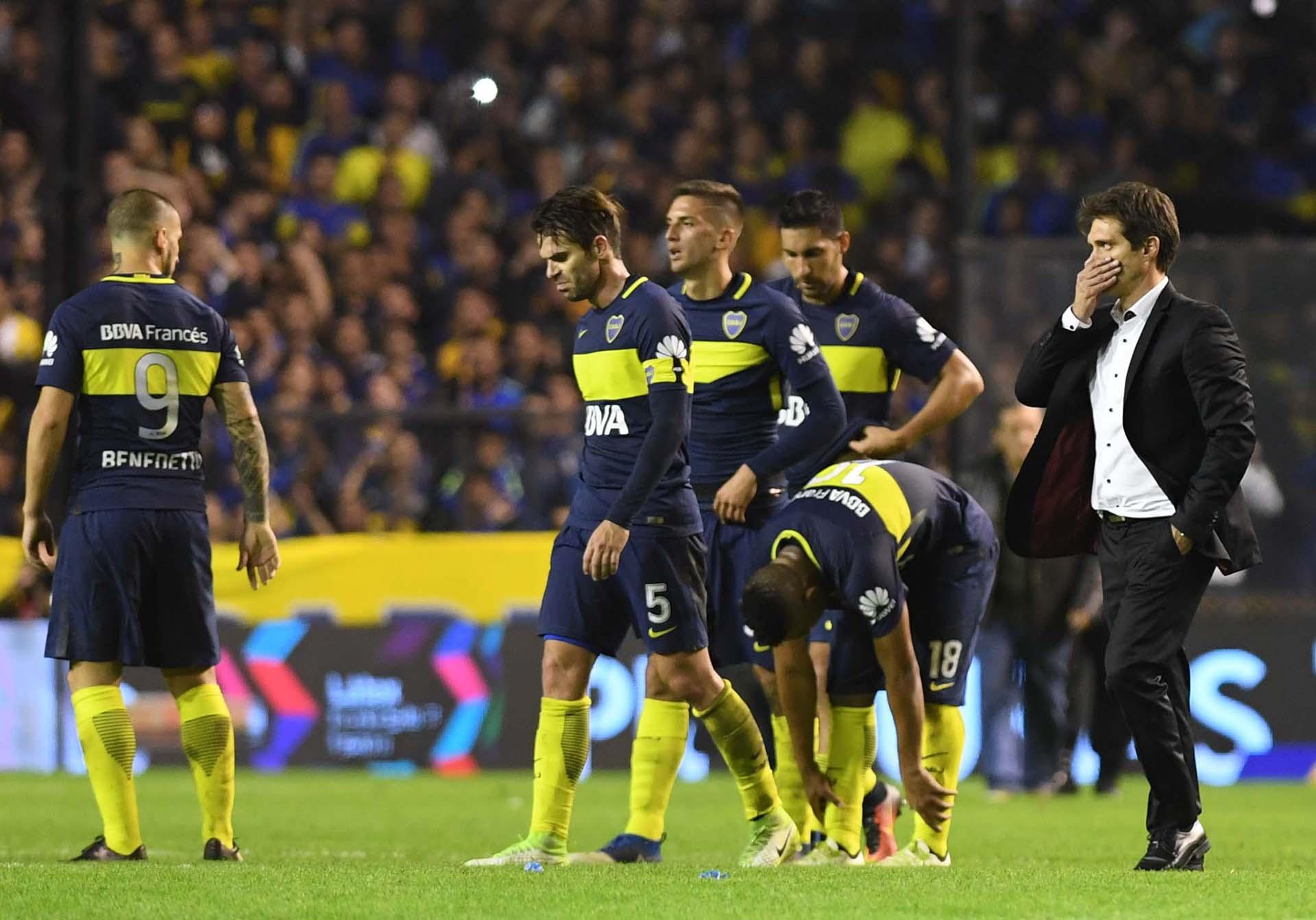 Al retirarse del estadio, el único miembro del plantel de Boca que habló con los medios fue el técnico Guillermo Barros Schelotto