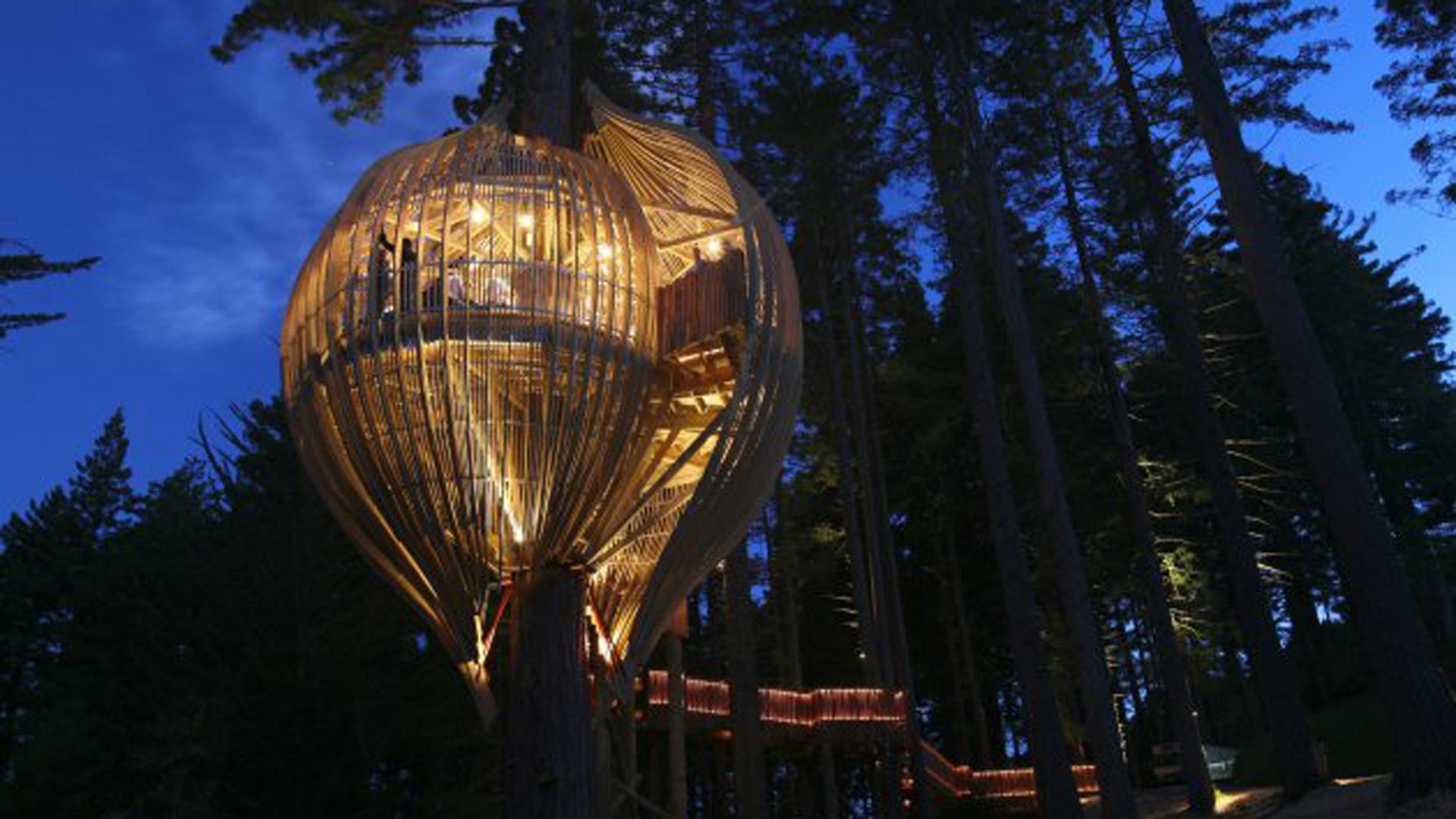 Ubicada en un bosque y sostenida a 30 metros del suelo, solo tiene lugar para 18 invitados ( Página oficial)