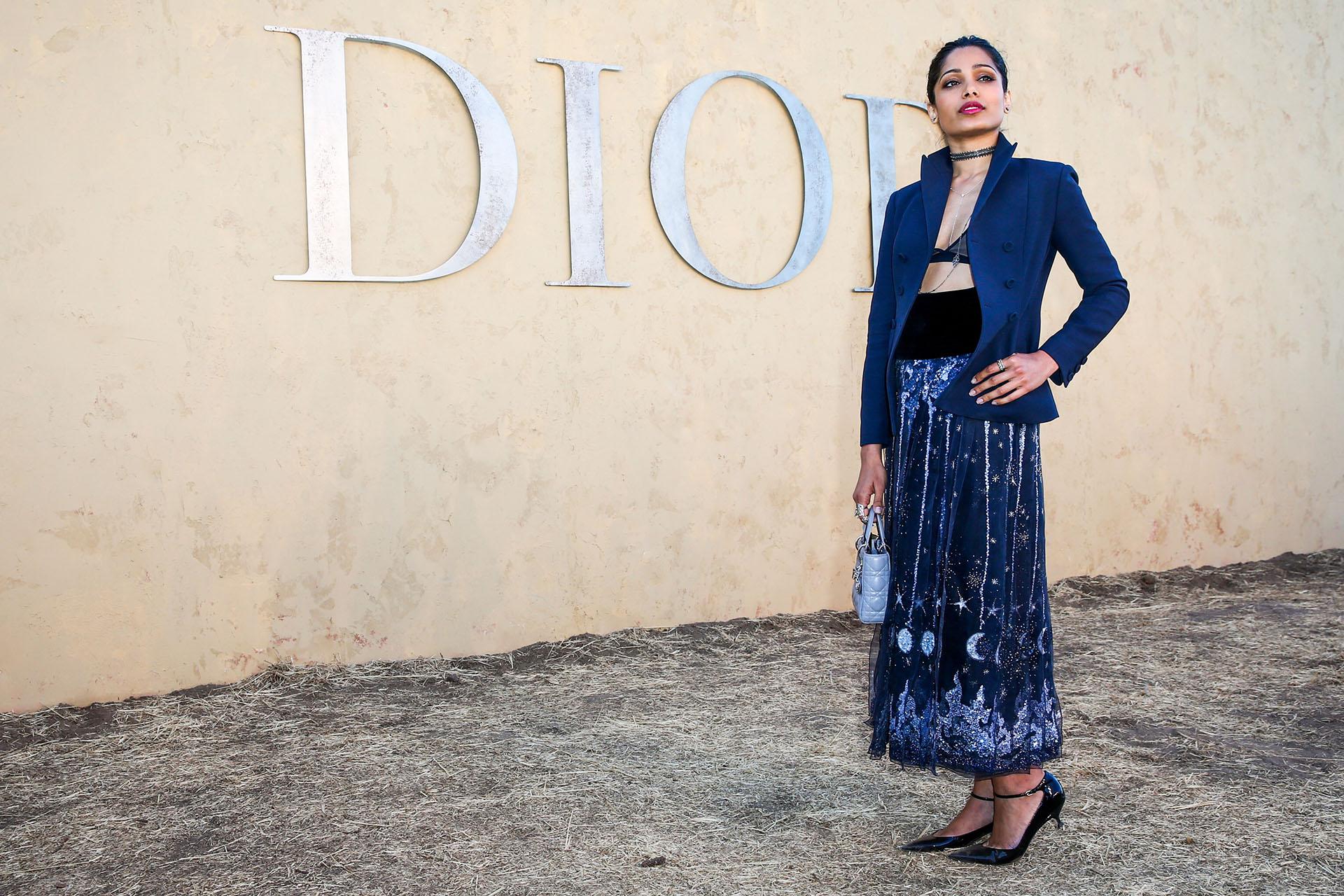 La actriz Freida Pinto y un original estilo que incluyó una larga falda bordada y ropa interior a la vista
