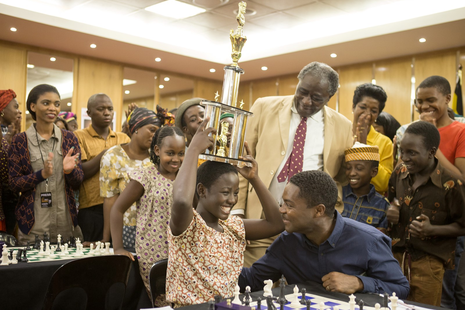 David Oyelowo is Robert Katende and Madina Nalwanga plays young Phiona Mutesi.