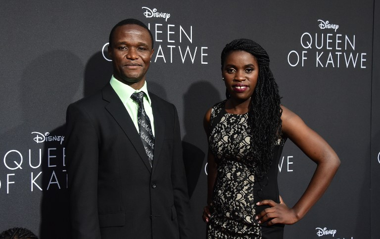 The real Robert Catende and Fiona Mutesi attended the movie premiere