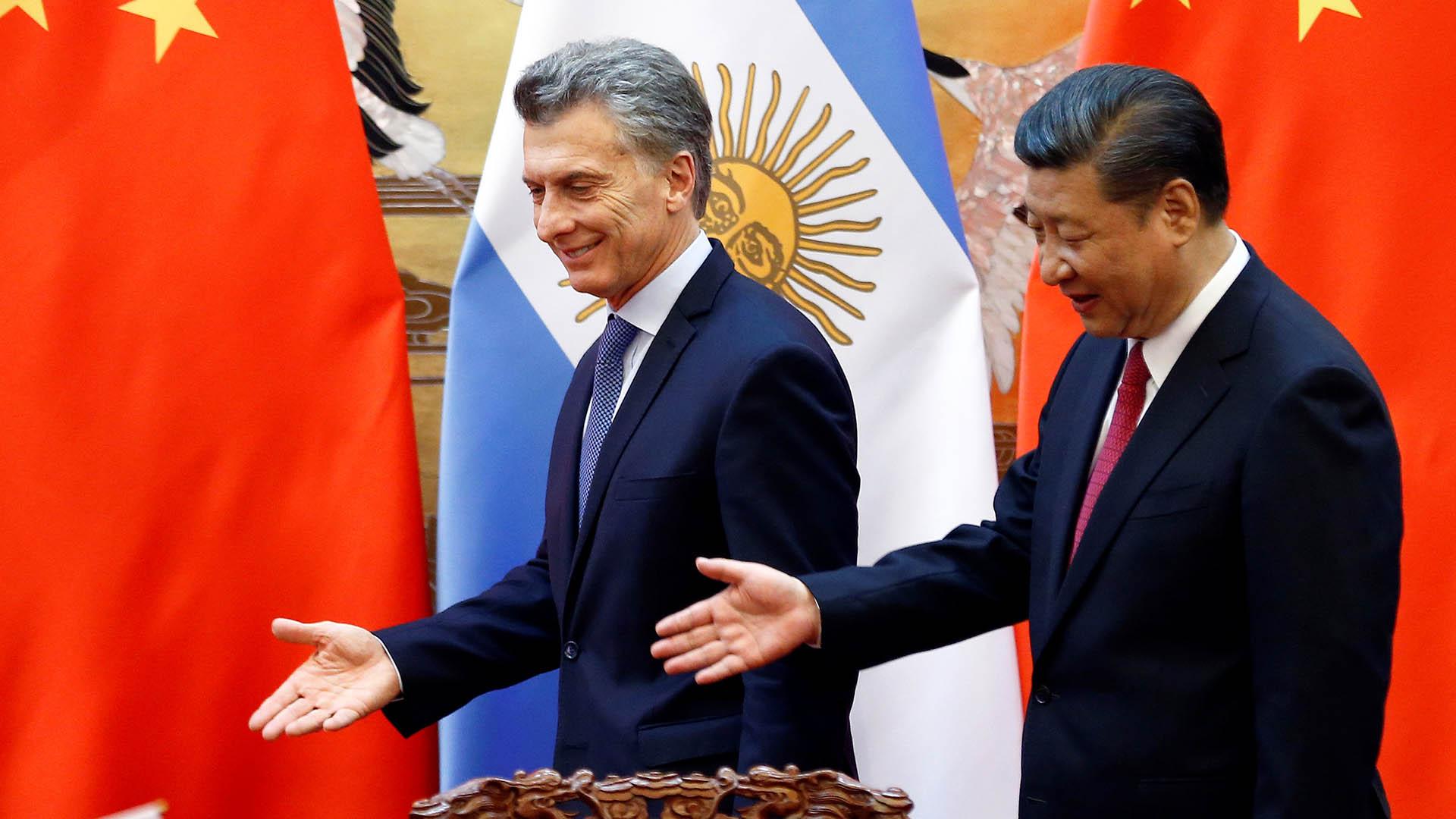 Mauricio Macri y el presidente chino Xi Jinping