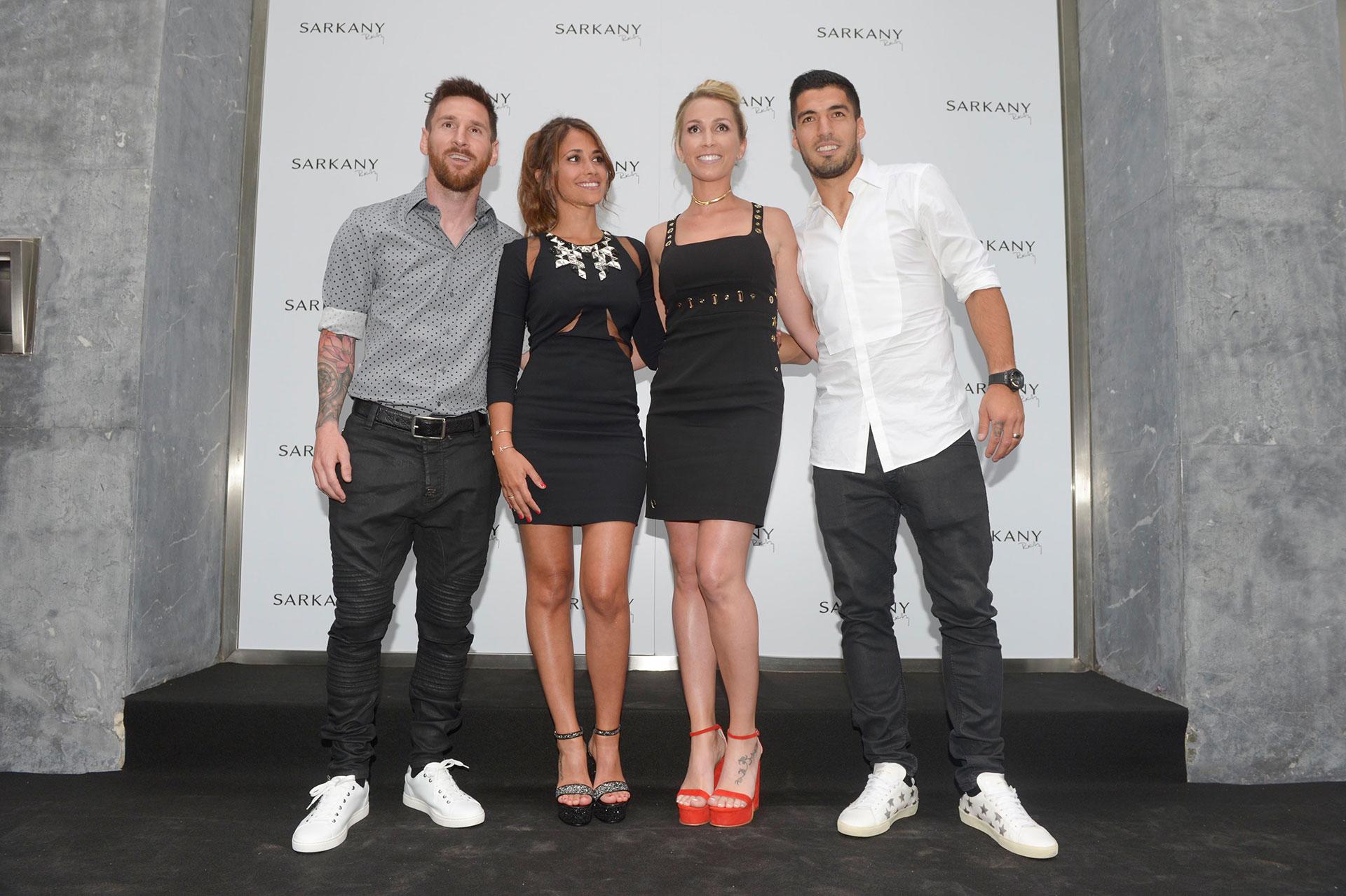 Lionel Messi, Antonella Roccuzzo, Sofía Balbi y Luis Suárez