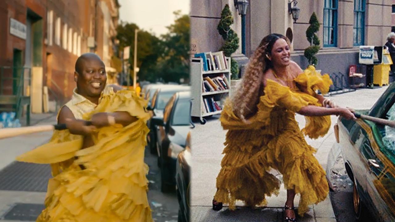 """El personaje de Titus imita a la famosa artistaBeyoncé en su video de """"Lemonade""""."""