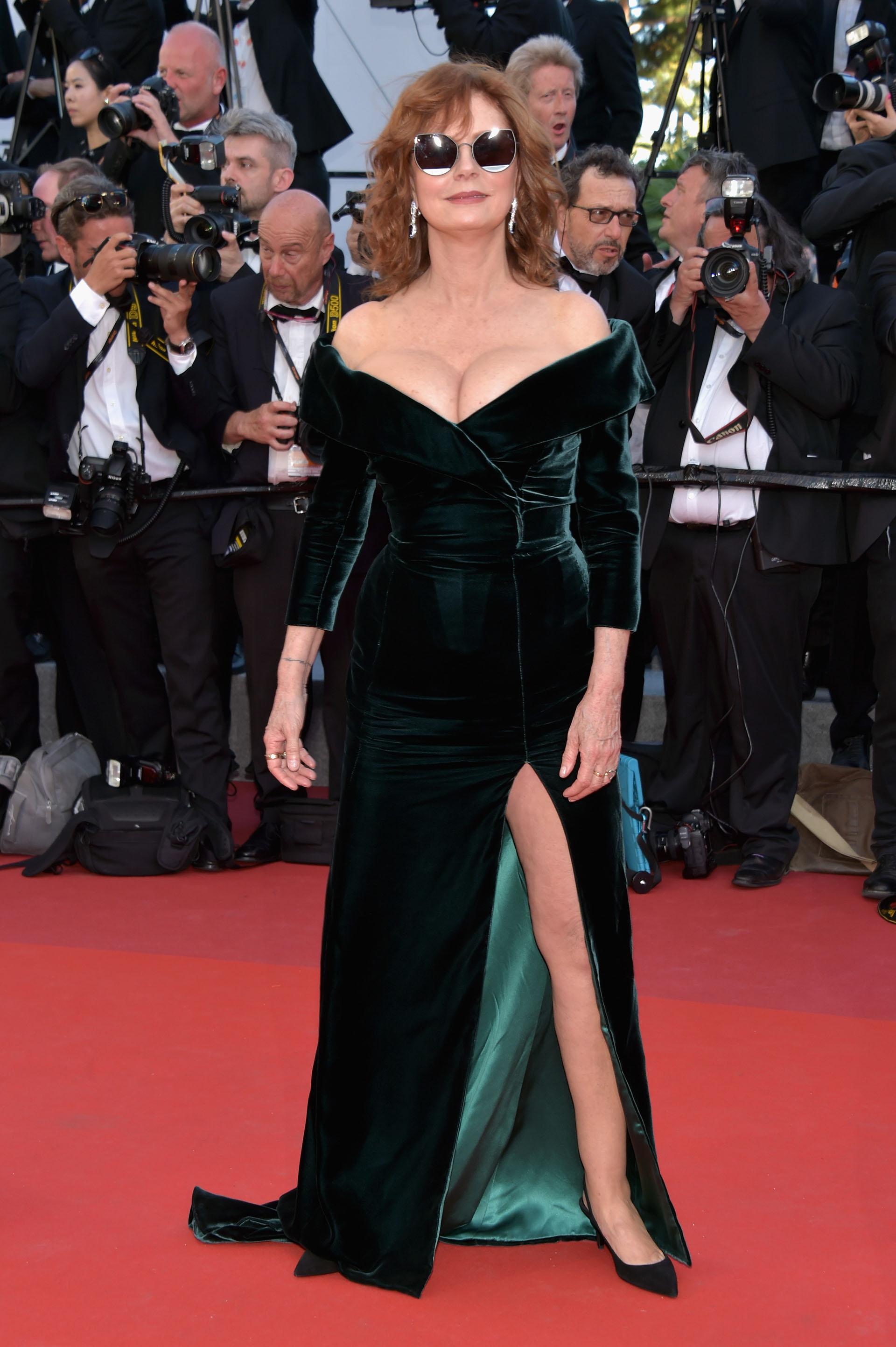 Susan Sarandon deslumbró a todos con un vestido verde de terciopelo( Pascal Le Segretain/Getty Images)