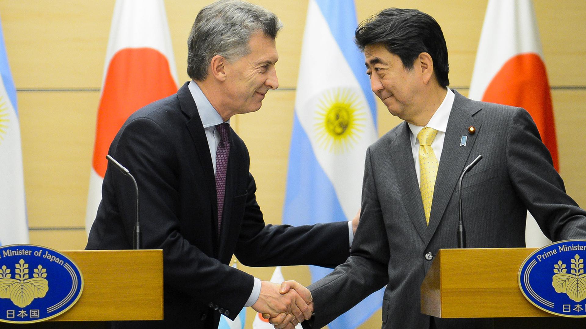Mauricio Macri y el primer ministro de Japón Shinzo Abe (Presidencia)