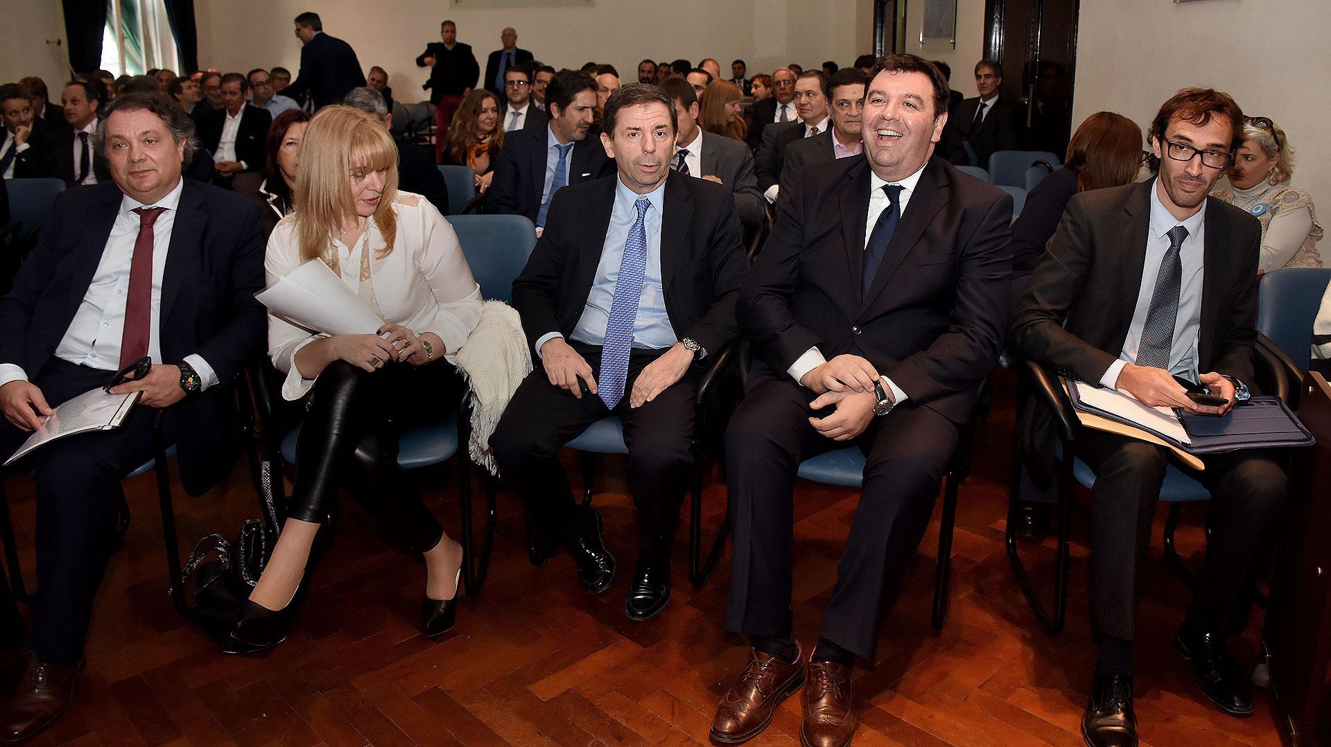 El presidente de la Cámara federal de Córdoba, Abel Sánchez Torres, la jueza Karina Rosario Perilli, el camarista Javier Leal de Ibarra, el juez federal Ariel Lijo y el secretario de su juzgado, Diego Arce.