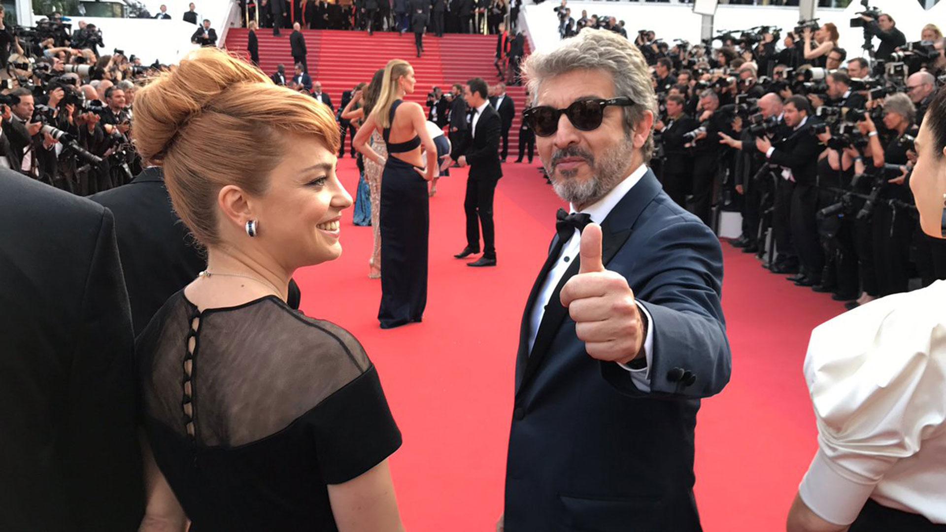 Dolores Fonzi y Ricardo Darín, en la alfombra roja de Cannes (crédito: @Primerplanonews)